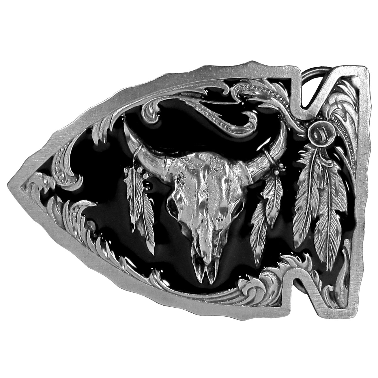 "Buffalo Skull in Arrowhead Enameled Belt Buckle - ""This belt buckle is shaped like an arrowhead with an animal skull and feathers on top with diamond cut accents.  This exquisitely carved buckle is made of fully cast metal with a standard bale that fits up to 2"""" belts."""