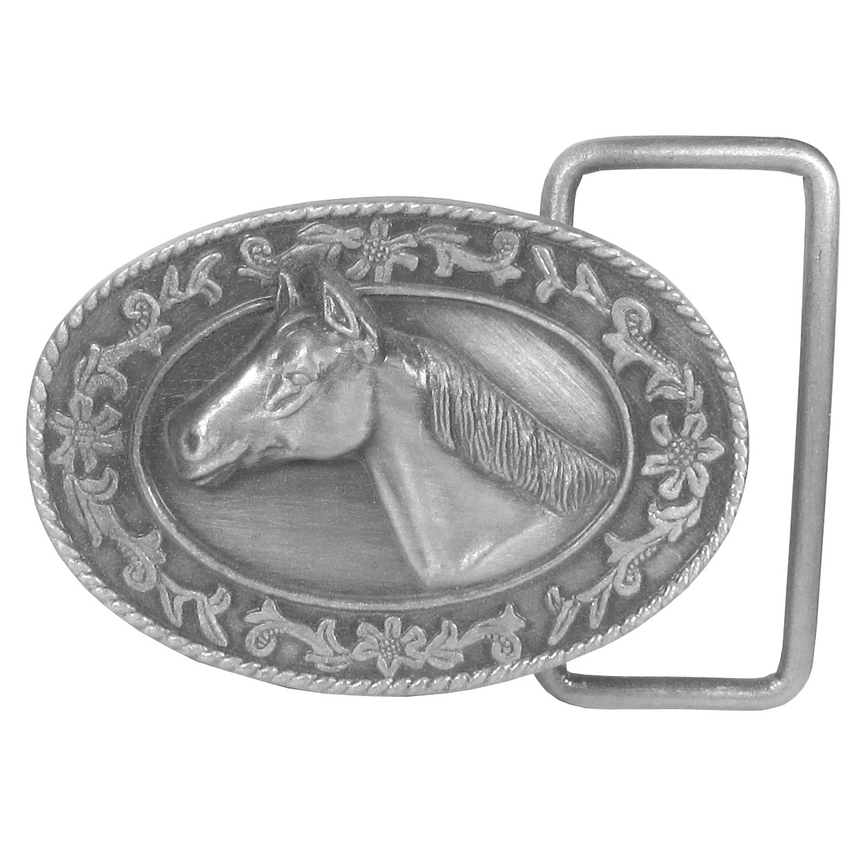 Horse Head Antiqued Belt Buckle - Finely sculpted and intricately designed belt buckle. Our unique designs often become collector's items.
