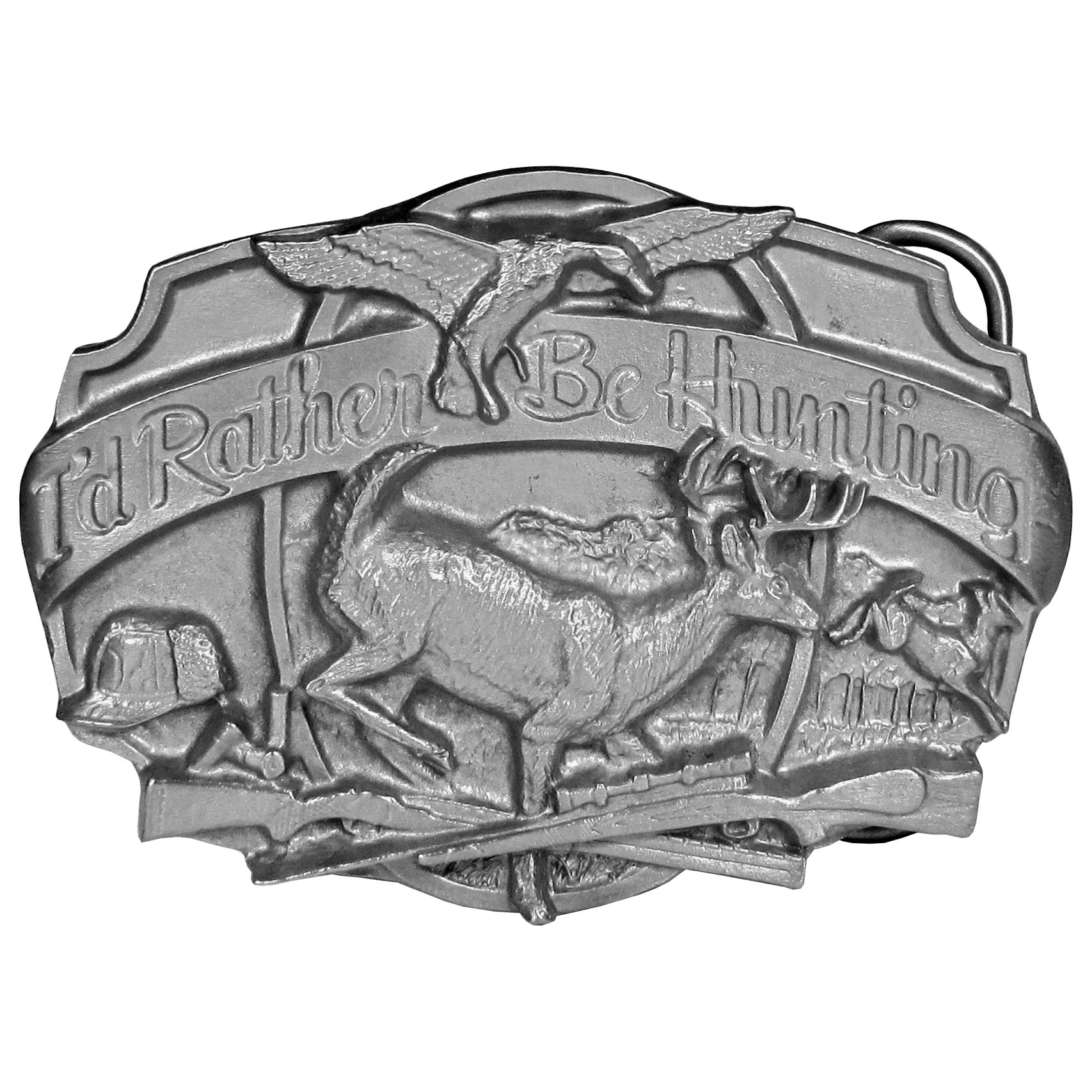 Hunting Antiqued Belt Buckle - Finely sculpted and intricately designed belt buckle. Our unique designs often become collector's items.