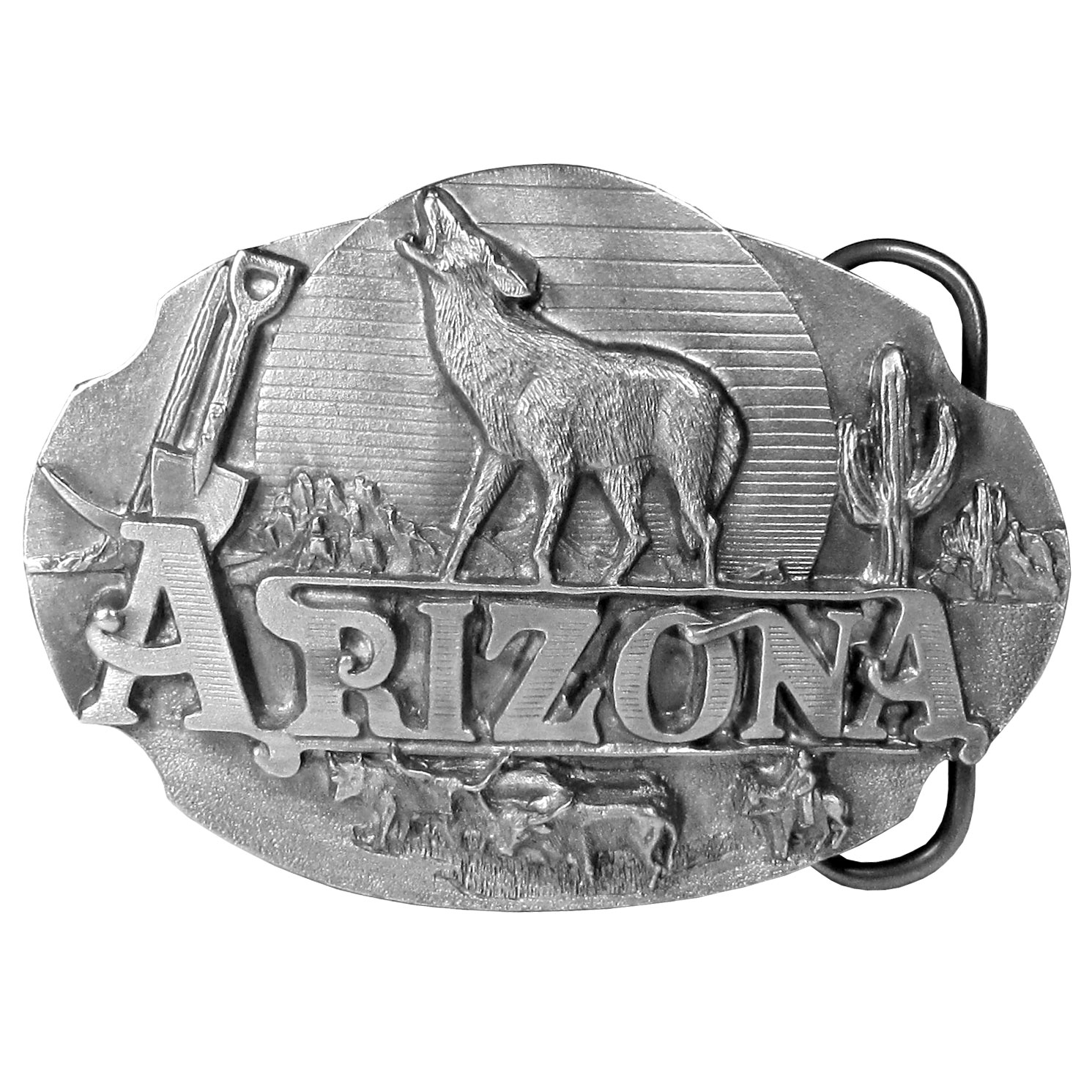 """Arizona Howling Wolf Antiqued Belt Buckle - """"Do you love Arizona? This buckle is for you! """"""""Arizona"""""""" is in bold in the center with a howling wolf, cactus, mountains, a moon, cattle and a cowboy, a spade and pickaxe. This exquisitely carved buckle is made of fully cast metal with a standard bale that fits up to 2"""""""" belts."""""""