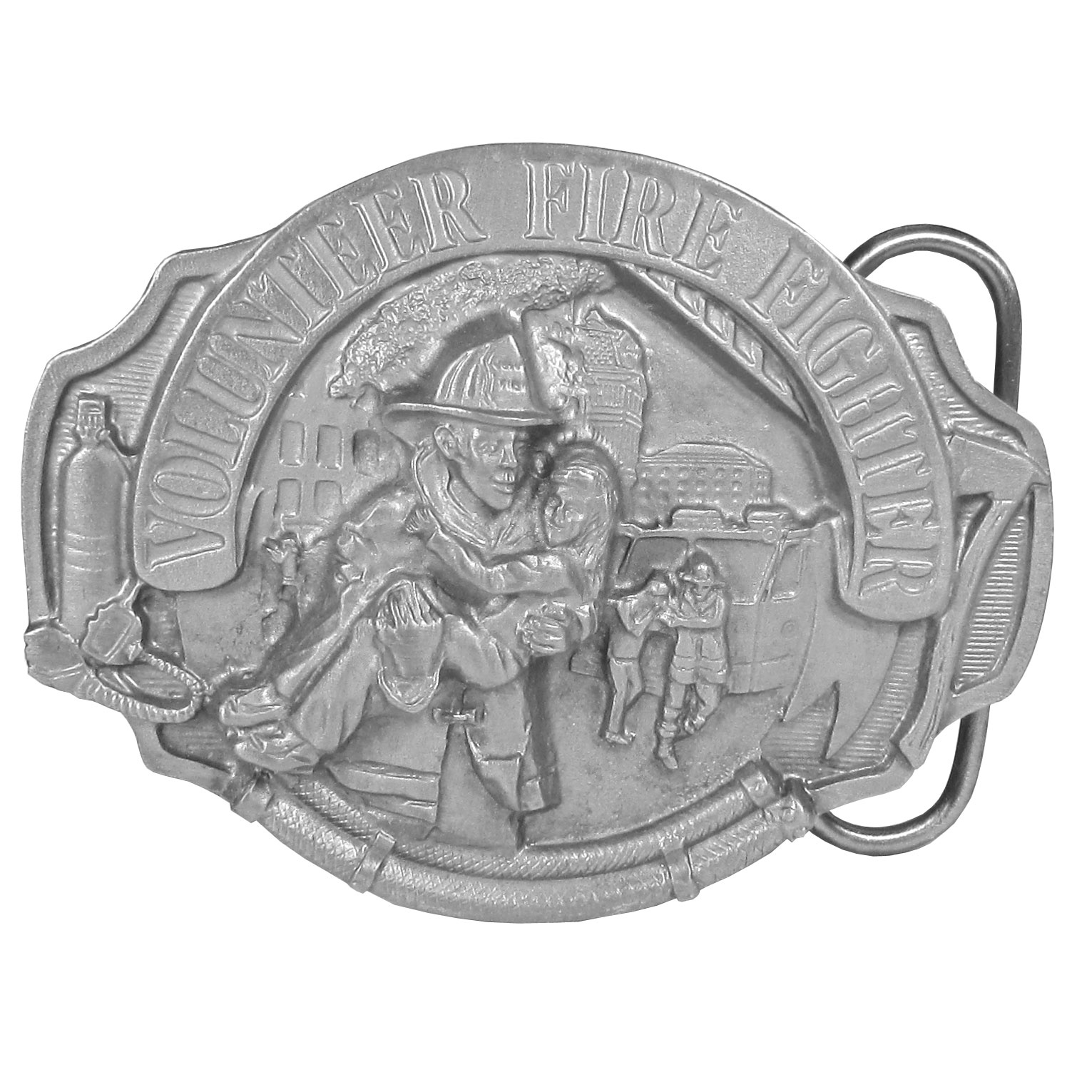 "Volunteer Fire Fighter Antiqued Belt Buckle - This buckle is perfect for the Volunteer Fire Fighter! In the front is a fire fighter carrying a child to safety.  In the background is a burning building, a firetruck, firefighters, a fire hose, pickaxe and an oxygen tank.  Across the top is written ""Volunteer Fire Fighter"" in bold.  This exquisitely carved buckle is made of fully cast metal with a standard bale that fits up to 2"" belts."