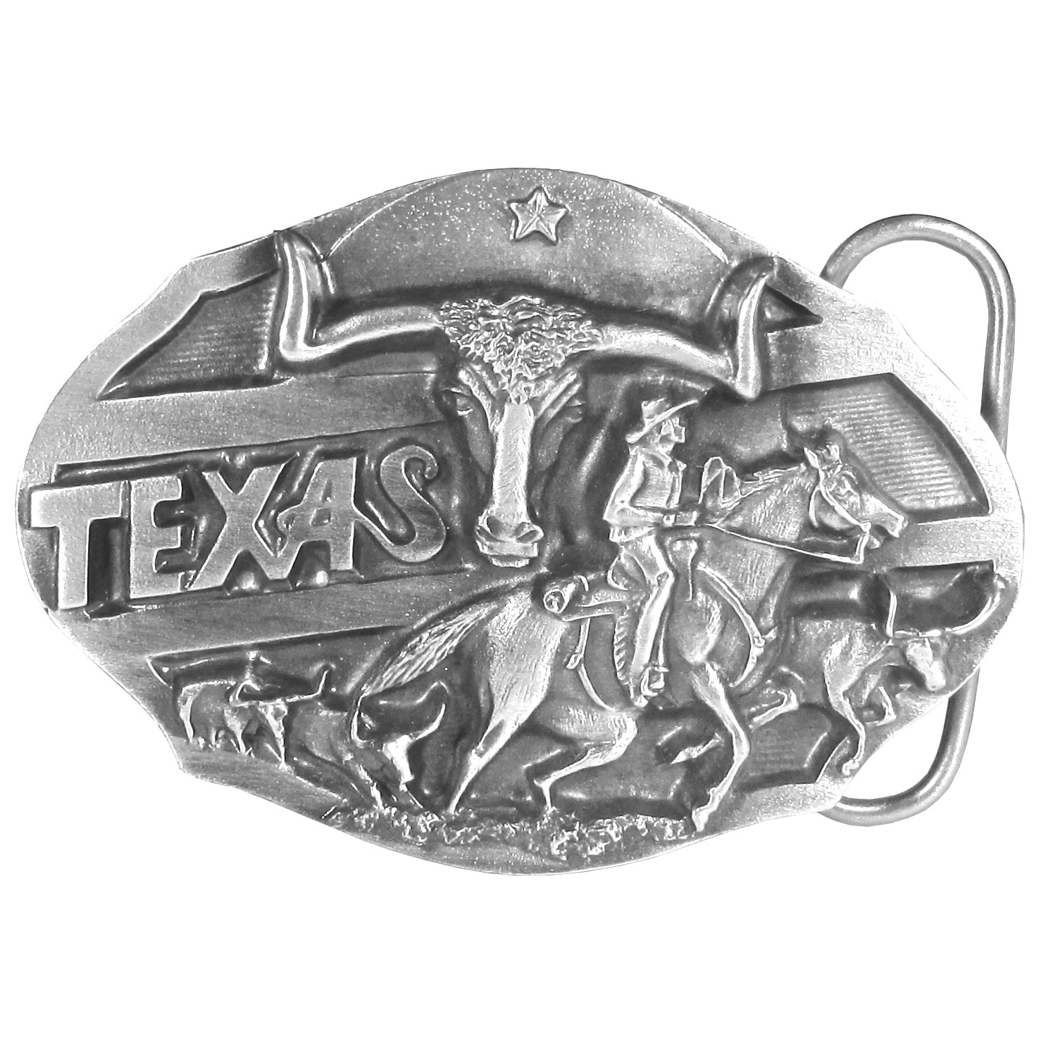 Texas Longhorn Antiqued Belt Buckle - Finely sculpted and intricately designed belt buckle. Our unique designs often become collector's items.