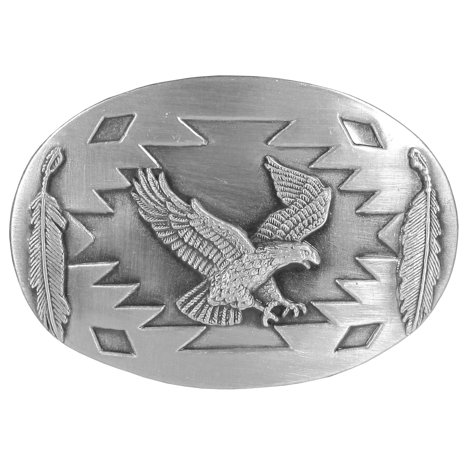 Flying Eagle with Feathers  Antiqued Belt Buckle - Finely sculpted and intricately designed belt buckle. Our unique designs often become collector's items.
