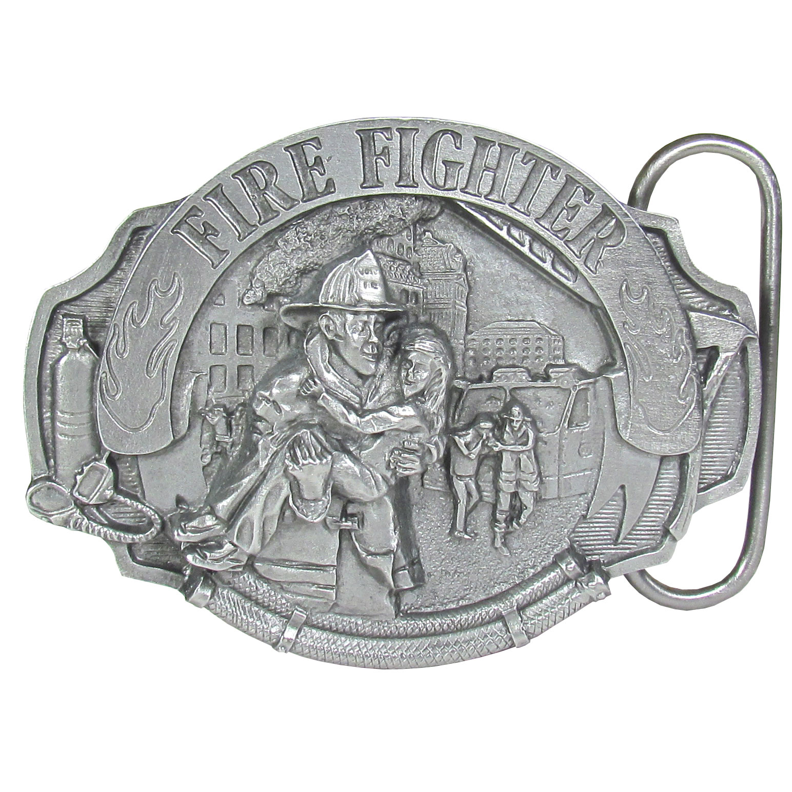 Fire Fighter  Antiqued Belt Buckle - Finely sculpted and intricately designed belt buckle. Our unique designs often become collector's items.