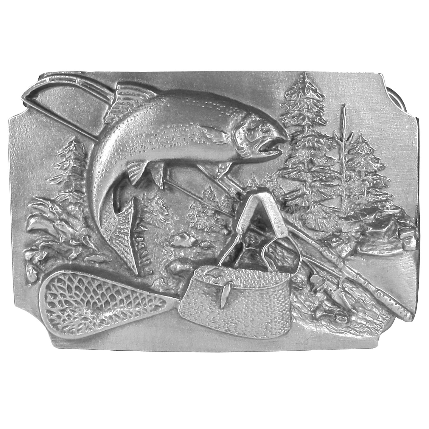 "Fish with Gear Background Antiqued Belt Buckle - ""This exquisitely carved belt buckle features a fish jumping from a river with a fishing pole, rattan fishing creel and a fishing net with trees in the background. This unique buckle is made of fully cast metal with a standard bale that fits up to 2"""" belts."""