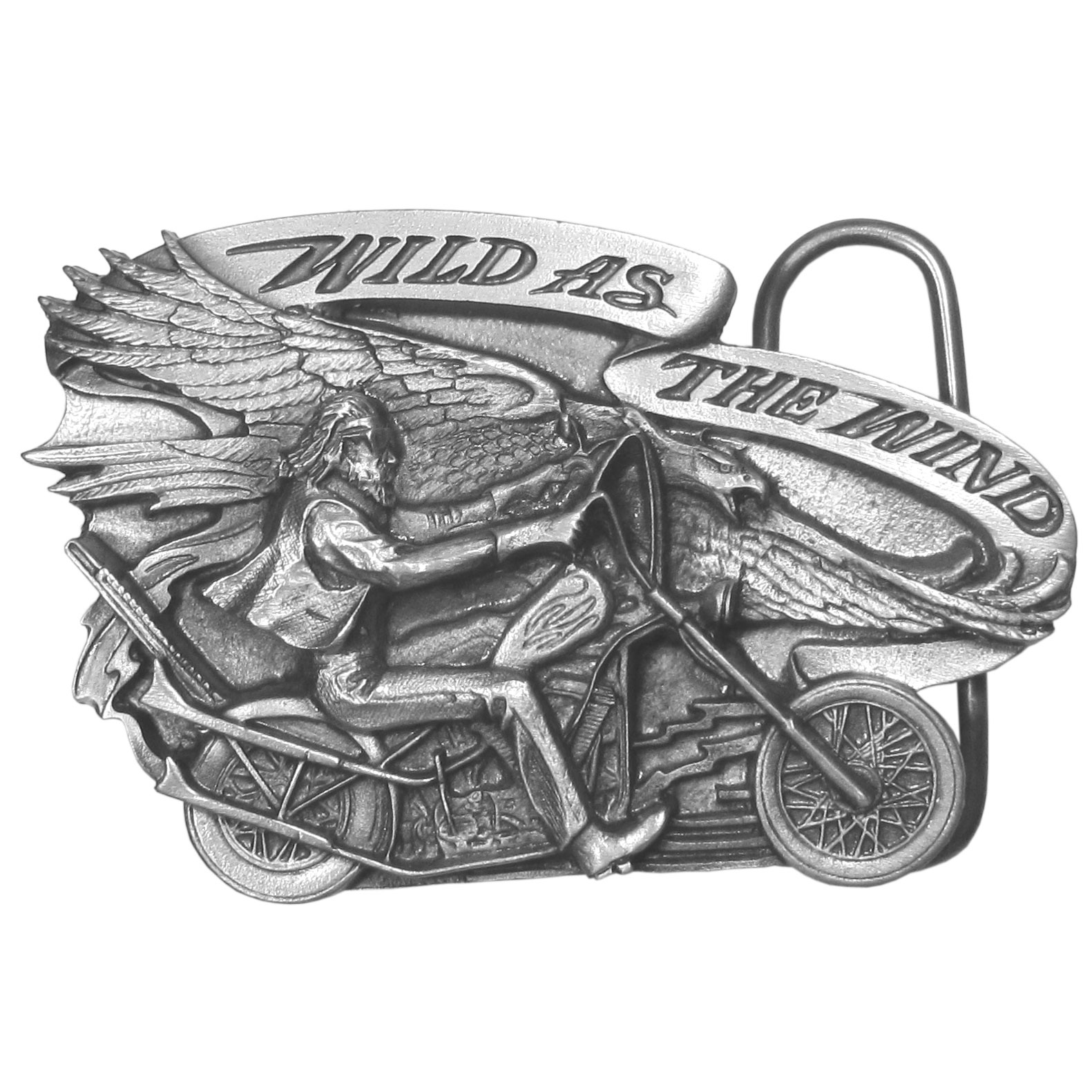 "Wild as the Wind  Antiqued Belt Buckle - ""Want to show your wild side? This unique buckle features a man riding on a motorcycle and a banner with """"Wild As The Wind"""" on it. There is also an eagle soaring through the sky. This exquistely carved buckle is made of fully cast metal with a standard bale that fits up to 2"""" belts. Siskiyou's unique buckle designs often become collectors items and are unequaled with the best craftsmanship."""