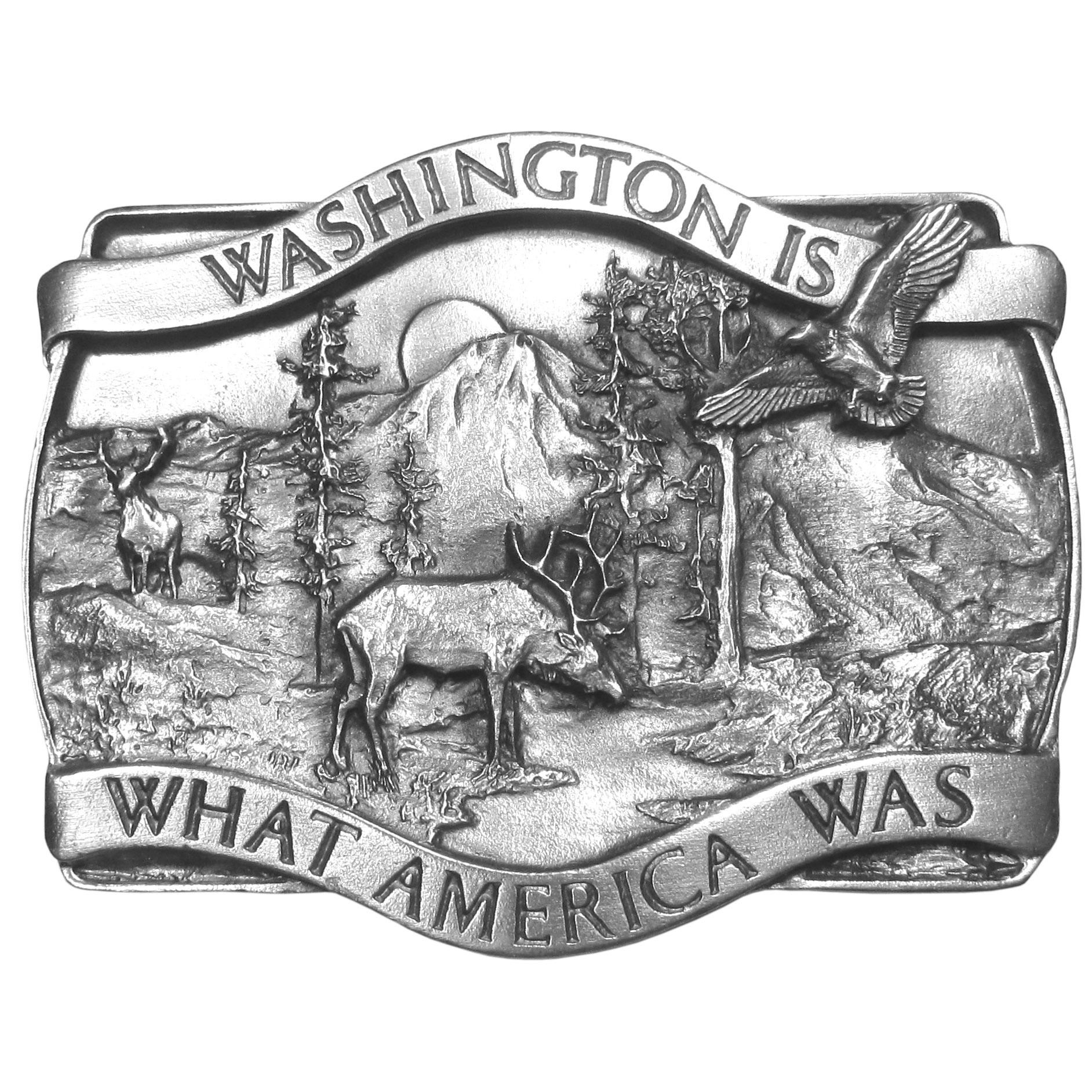 "Washington Antiqued Belt Buckle - ""Washington Is What America Was"" is proudly written on this buckle. Exquistely carved, this buckle has an elk and a deer, both with antlers, trees, river, sun, mountains and an eagle soaring through the sky. This buckle is made of fully cast metal with a standard bale that fits up to 2"""" belts. Siskiyou's unique buckle designs often become collectors items and are unequaled with the best craftsmanship."""