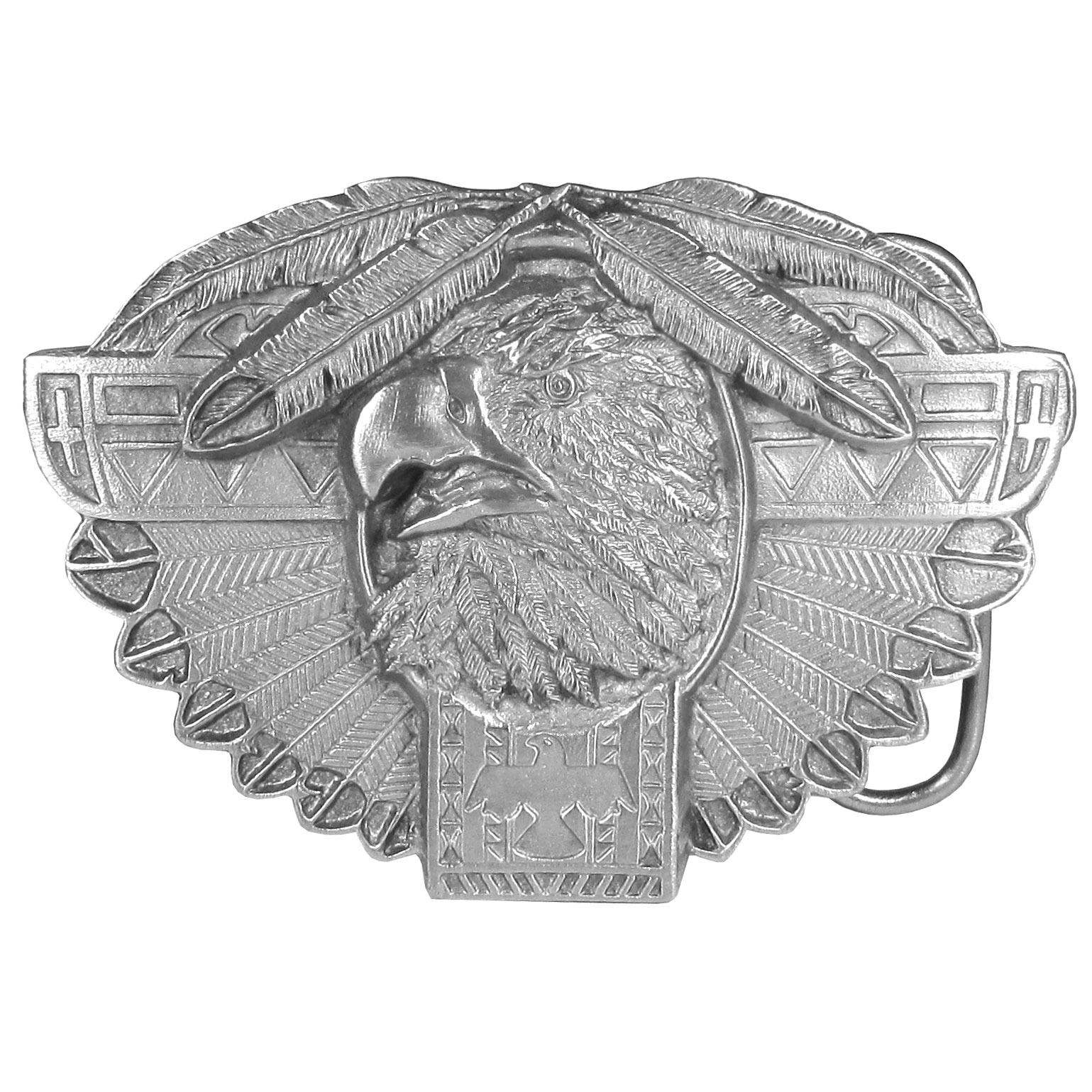 Thunderbird Totem Antiqued Belt Buckle - This finely sculpted thunderbird totem belt buckle features a thunderbird head, a totem pole and feathers. Siskiyou's unique buckle designs often become collector's items and are unequaled with the best craftsmanship.