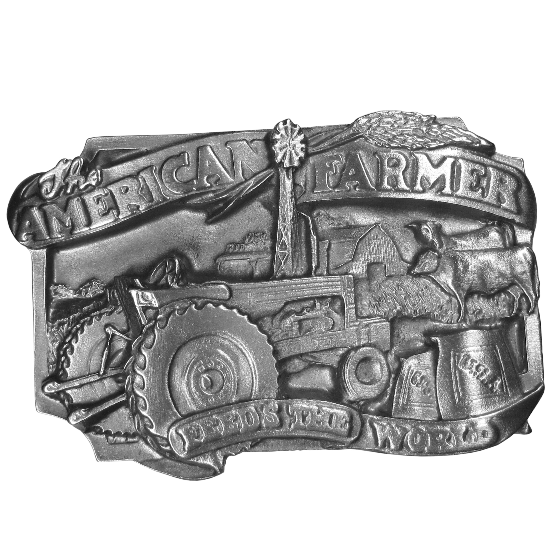 "American Farmer Antiqued Belt Buckle - This beautifully carved image has the words ""The American Farmer"" on a banner across the top and Feeds The World on a banner on the bottom. Images of a tractor, a windmill, a barn, two cows, ""USA"" grain bags and a farm are in the center of this exquisite buckle. This antiqued buckle is made of fully cast metal with a standard bale that fits up to 2"" belts.  Siskiyou's unique buckle designs often become collector's items and are unequaled in craftsmanship."