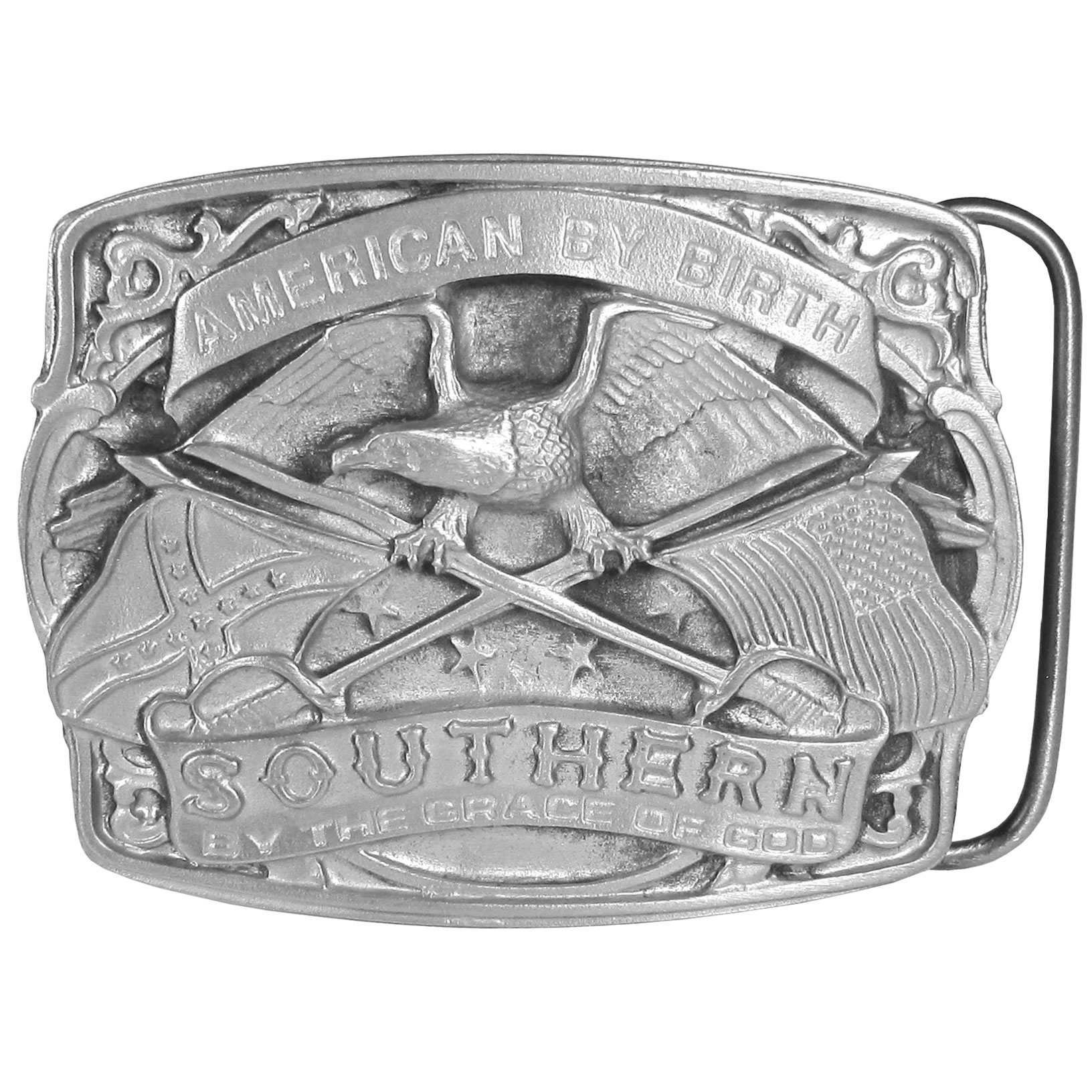 "American by Birth Antiqued Belt Buckle - This finely sculpted and hand enameled Southern pride belt buckle features an eagle in the center with an American flag in one claw and a Confederate flag in the other. American by birth, Southern by the grace of God is written on a banner.  This exquisitely carved buckle is made of fully cast metal with a standard bale that fits up to 2"" belts"