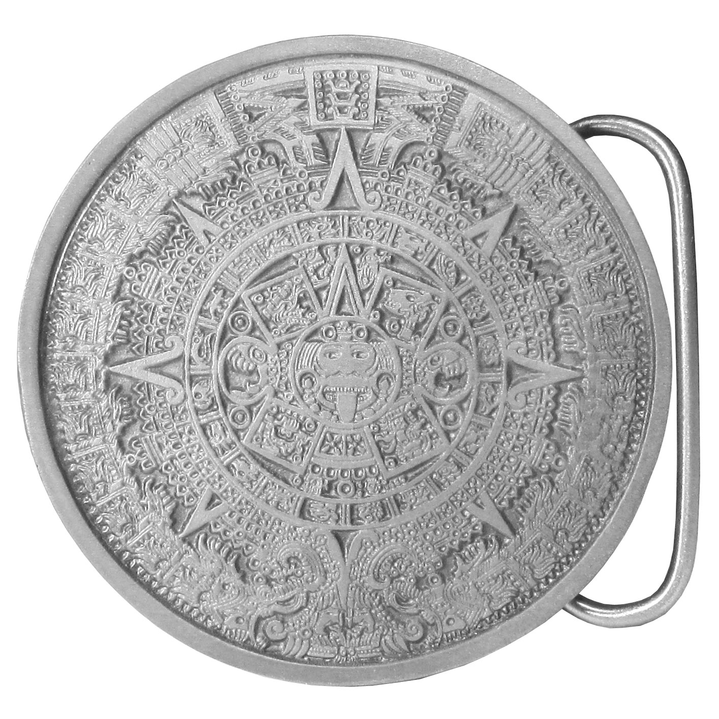 "Aztec Calender Antiqued Belt Buckle - ""This finely sculpted and hand enameled Aztec belt buckle features the Aztec calendar. Siskiyou's unique buckle designs often become collector's items and are unequaled with the best craftsmanship.  These exquisitely carved buckles are made of fully cast metal with a standard bale that fits up to 2"""" belts."""
