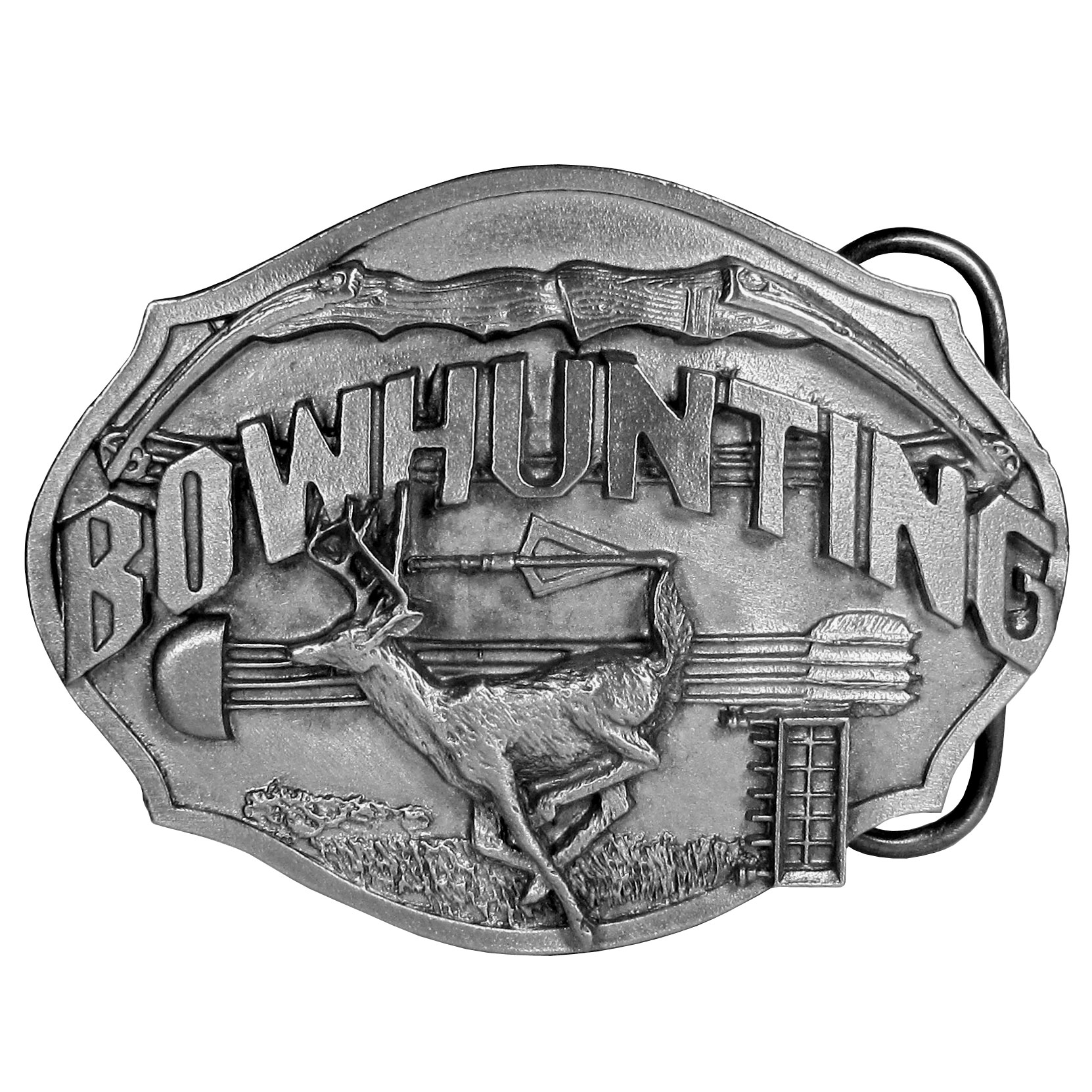 "Bowhunting Antiqued Belt Buckle - ""This belt buckle is for the bowhunter! Buckle features a deer jumping through a field with a bow and arrows and the word """"Bowhunter"""" in bold. On the back are the words, """"The sport of bowhunting is the ultimate hunting experience. It requires great skill and patience."""" This exquisitely carved buckle is made of fully cast metal with a standard bale that fits up to 2"""" belts."""