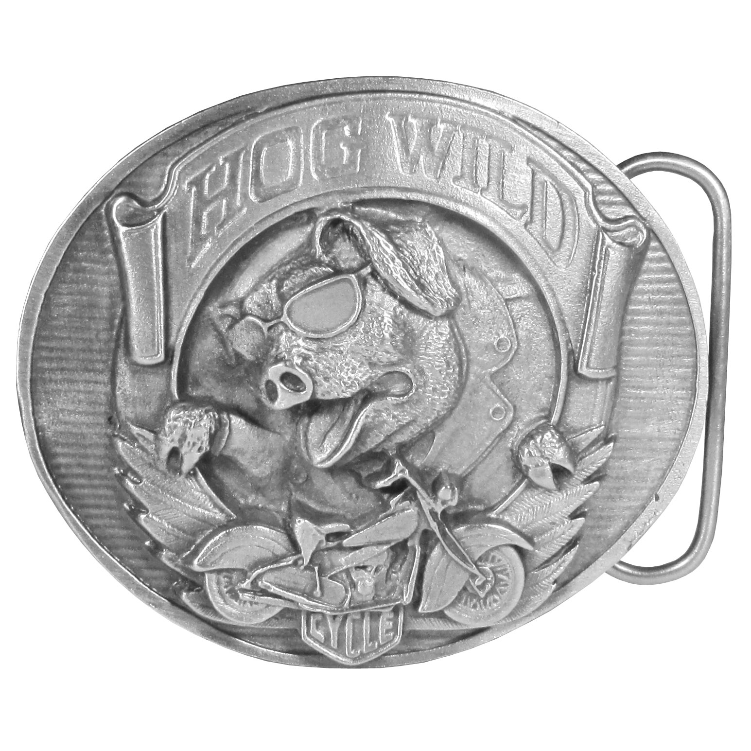"Hog Wild Antiqued Belt Buckle - ""This belt buckle has the words """"Hog Wild"""" written in bold on a banner across the top.  There is a hog in sunglasses and a motorcycle jacket underneath with a motorcycle and wings and the word """"cycle"""" on the bottom.  This exquisitely carved buckle is made of fully cast metal with a standard bale that fits up to 2"""" belts."""