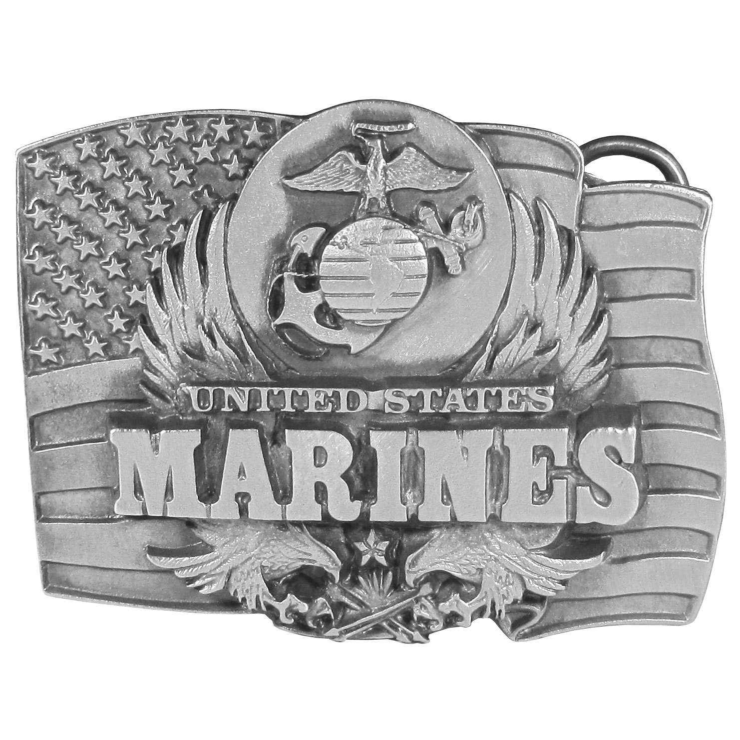 "Marines Antiqued Belt Buckle - United States Marines is proudly written on this belt buckle with the Marine's symbol and an American flag. On the back are the words, """"The Marines... The Few. The Proud. The Brave. This exquisitely carved buckle is made of fully cast metal with a standard bale that fits up to 2"" belts."