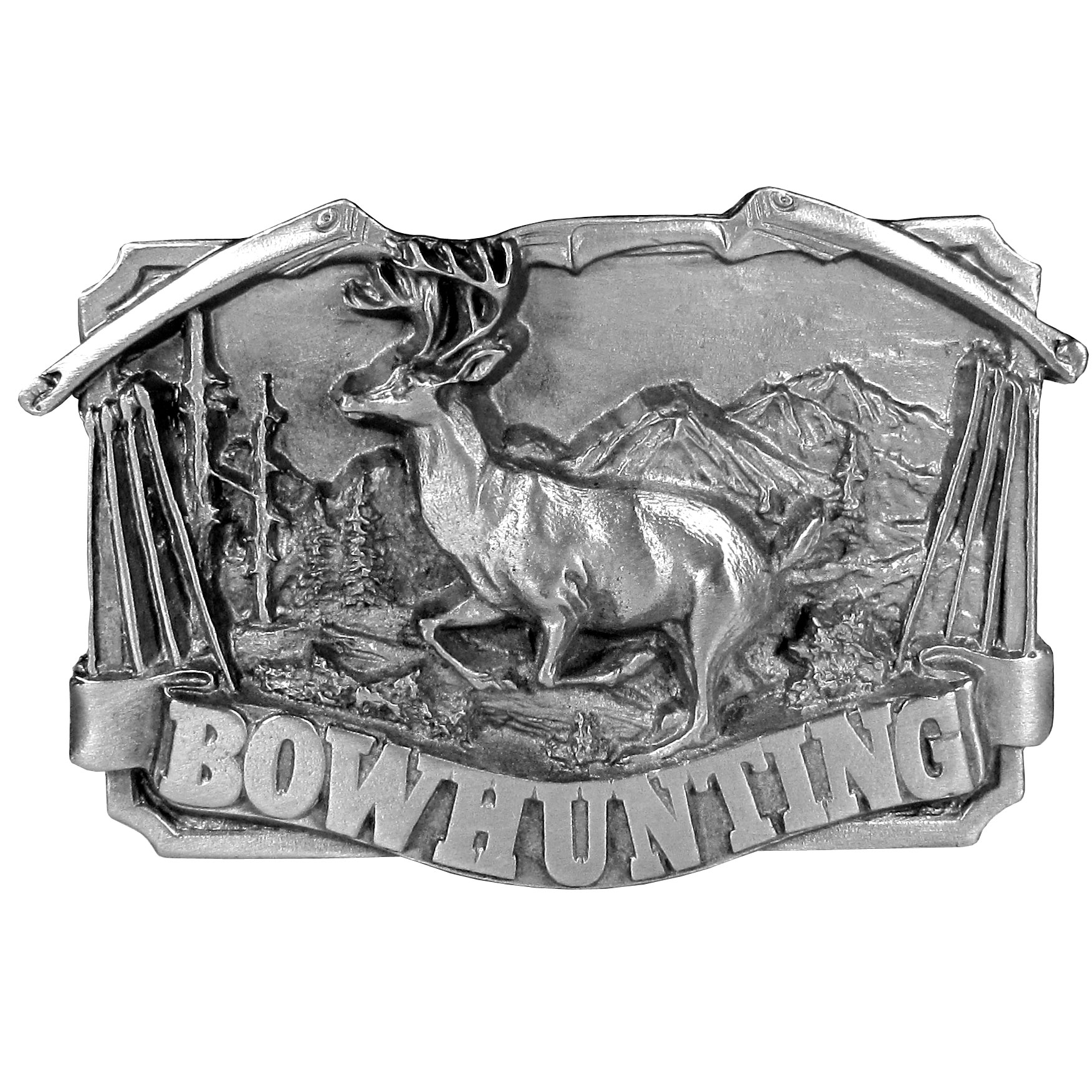 "Bowhunting Antiqued Belt Buckle - ""This belt buckle is to celebrate bowhunting!  The word """"Bowhunting"""" is written in bold on the bottom with a buck with antlers in the center with mountains and trees in the background.  On the top is a bow with arrows on the sides.  On the back are the words, """"Bowhunting is a demanding sport of great skill and patience.  The skills required in bowhunting far exceed those of other hunting sports.  To be a bowhunter is to be a true sportsman."""""""