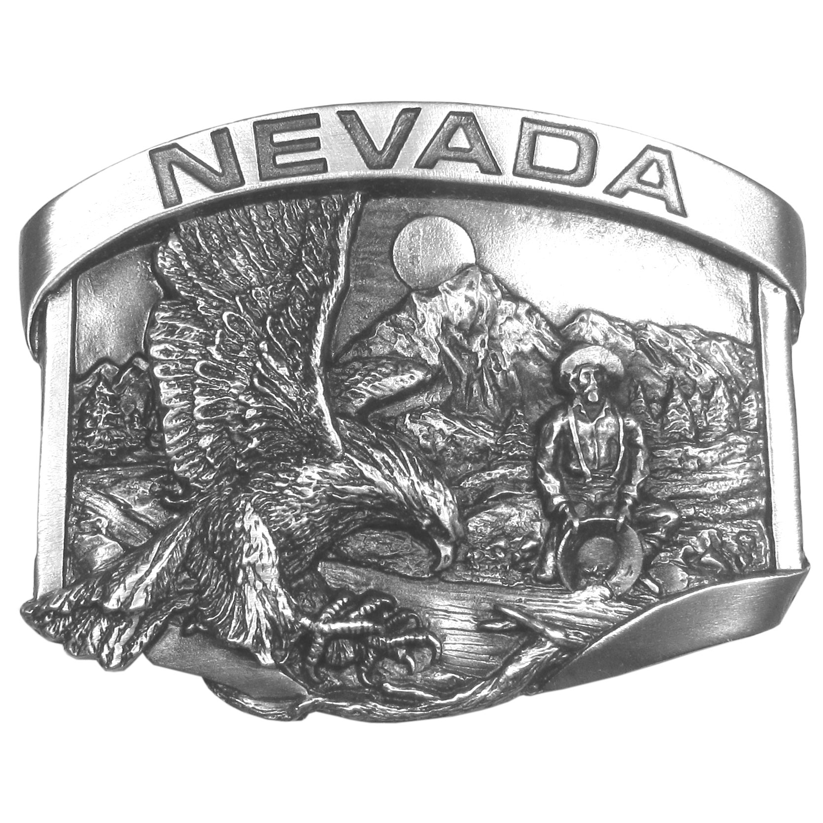 "Nevada Belt Buckle Antiqued Belt Buckle - ""If you're from Nevada, this buckle is for you! It proudly has the word """"Nevada"""" on a banner across the top. Below that is an eagle landing with it's claws outstretched, a miner panning for gold in a river, the Sierra Nevada Mountains along with the sun and trees. This exquistely carved buckle is made of fully cast metal with a standard bale that fits up to 2"""" belts. Siskiyou's unique buckle designs often become collectors items and are unequaled with the best craftsmanship."""