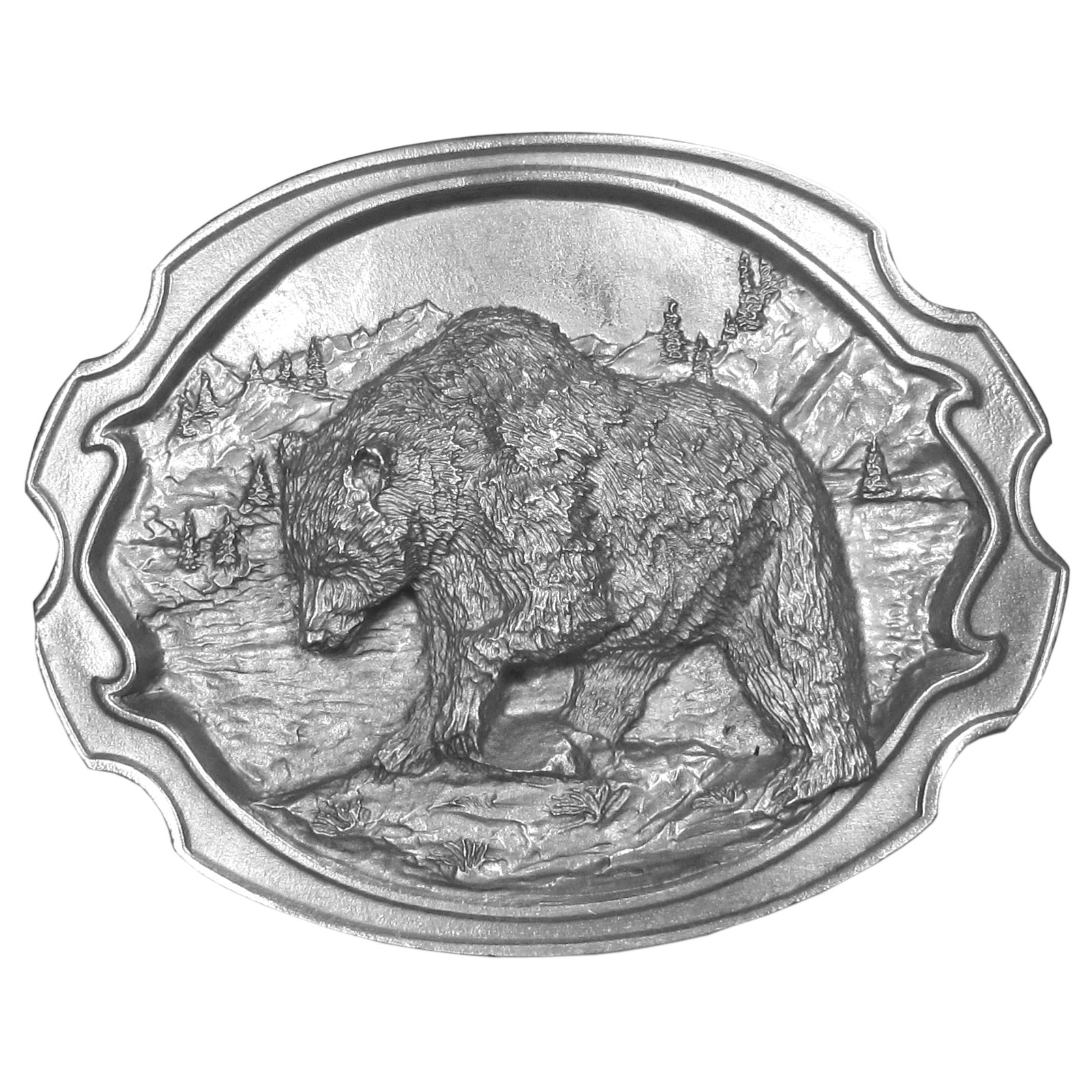 "Grizzly Bear Antiqued Belt Buckle - ""This exquistely carved buckle features a bear in the center with woods, mountains and a river in the background. This buckle is carved of fully cast metal with a standard bale that fits up to 2"""" belts. Siskiyou's unique buckle designs often become collectors items and are unequaled with the best crafstmanship."""