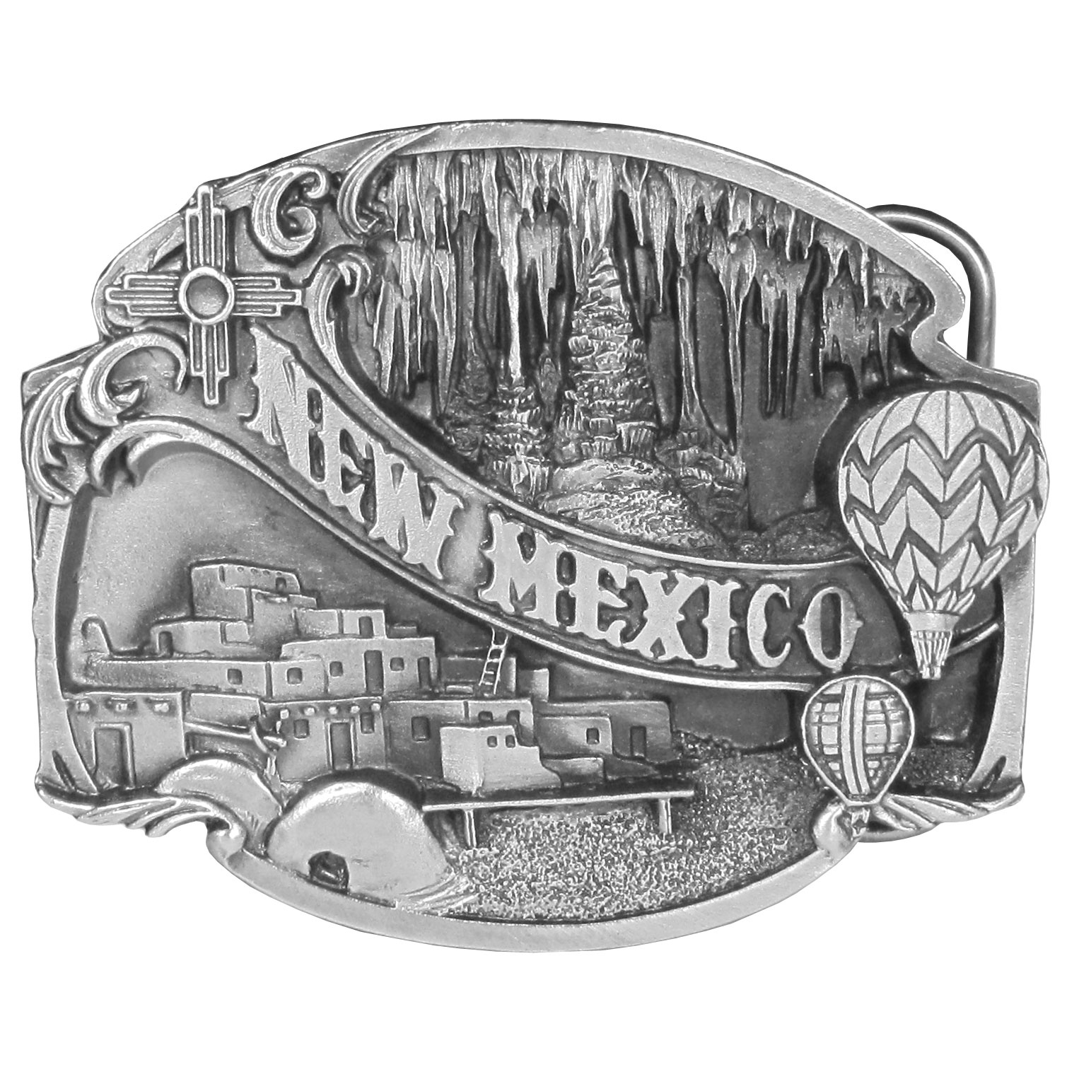 "New Mexico Antiqued Belt Buckle - ""New Mexico"" is written across this belt buckle in bold. In the background are New Mexico Pueblos, the Carlsbad Caverns and hot air balloons from the Albuquerque International Balloon Fiesta. On the back are the words, """"New Mexico, the Land of Enchantment, was founded as a state on Jan. 6, 1912. New Mexico is famous for its scenic beauty and rich history. This exquisitely carved buckle is made of fully cast metal with a standard bale that fits up to 2"""" belts."""