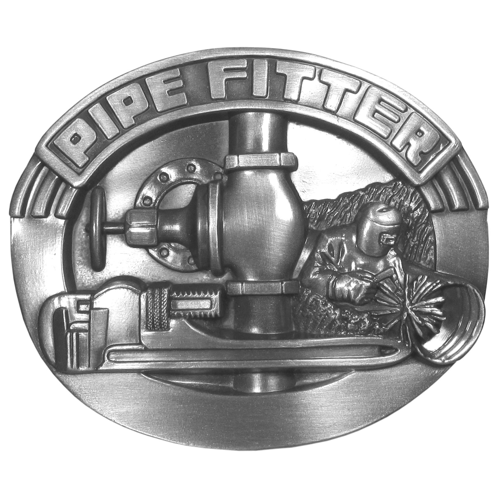 """Pipe Fitter Antiqued Belt Buckle - This buckle is designed for the pipe fitter. It has """"Pipe Fitter"""" on a bold banner across the top. Below that is a pipe fitter welding a pipe, a pipe wrench and pipes. This exquistely carved buckle is made of fully cast metal with a standard bale that fits up to 2"""" belts."""