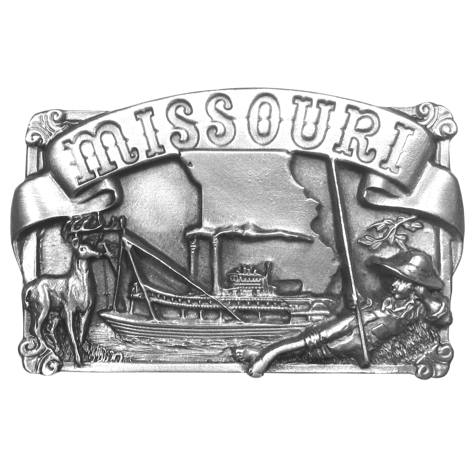 "Missouri Antiqued Belt Buckle - ""This buckle is inspired by the state of Missouri. """"Missouri"""" is proudly written on a banner on the top of the buckle. Below the banner is an outline of the state of missouri, a steamboat on the Mississippi River, a Huck Finn looking character laying beside the river with bare feet and a deer with antlers. This exquistely carved buckle is made of fully cast metal with a standard bale that fits up to 2"""" belts. Siskiyou's unique buckle designs often become collectors items and are unequaled with the best craftsmanship."""