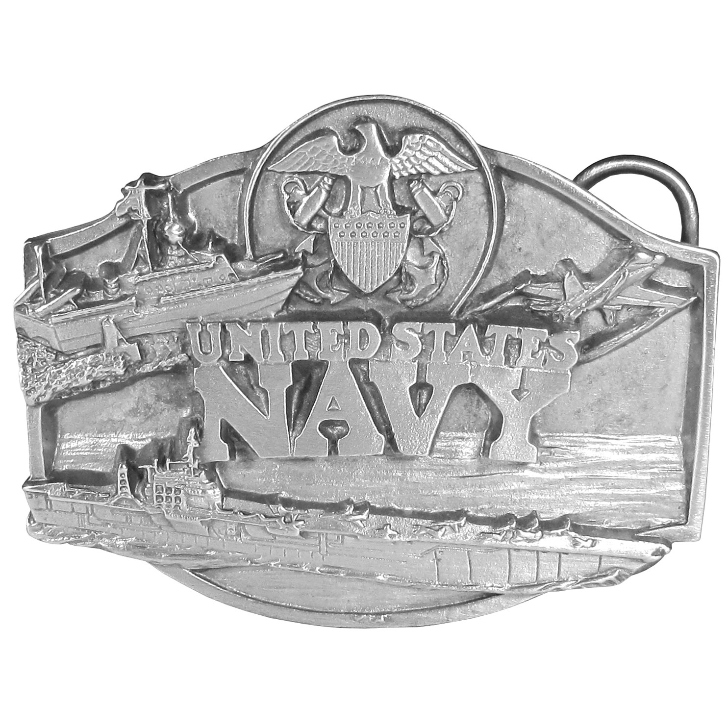 "Navy Antiqued Belt Buckle - This belt buckle celebrates the Navy with the words ""United States Navy"" written in bold across the center with the Navy seal and Navy ships. On the back are the words, The Navy was established by the Continental Congress in 1728. Today the U.S. Navy is second to none as the largest, most modern and the most powerful navy in the world. This exquisitely carved buckle is made of fully cast metal with a standard bale that fits up to 2"" belts."