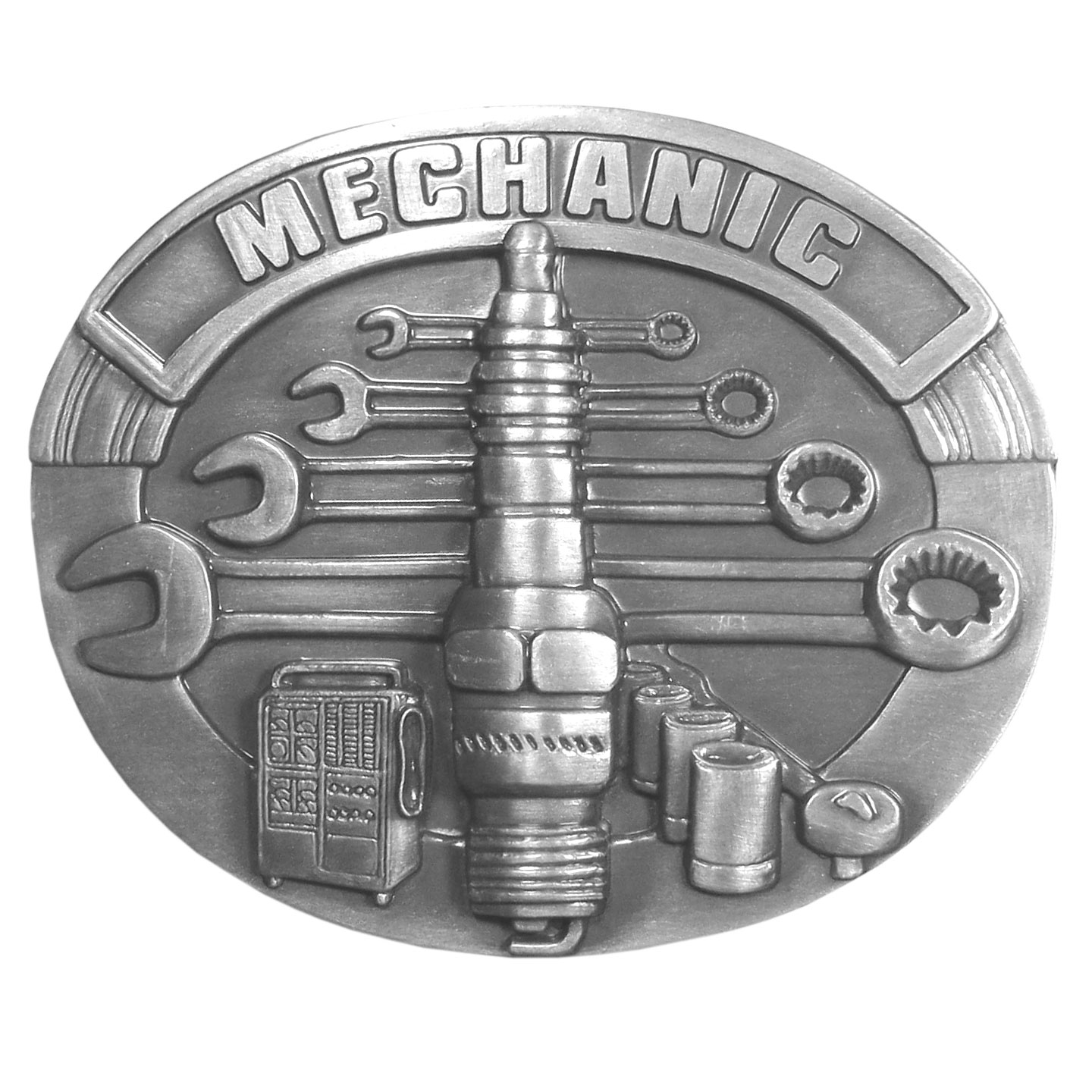 "Mechanic Antiqued Belt Buckle - Mechanic is proudly written on the top of this buckle. A spark plug is centered on the buckle surrounded by tools. This exquistely carved buckle is made of fully cast metal with a standard bale that fits up to 2"" belts."
