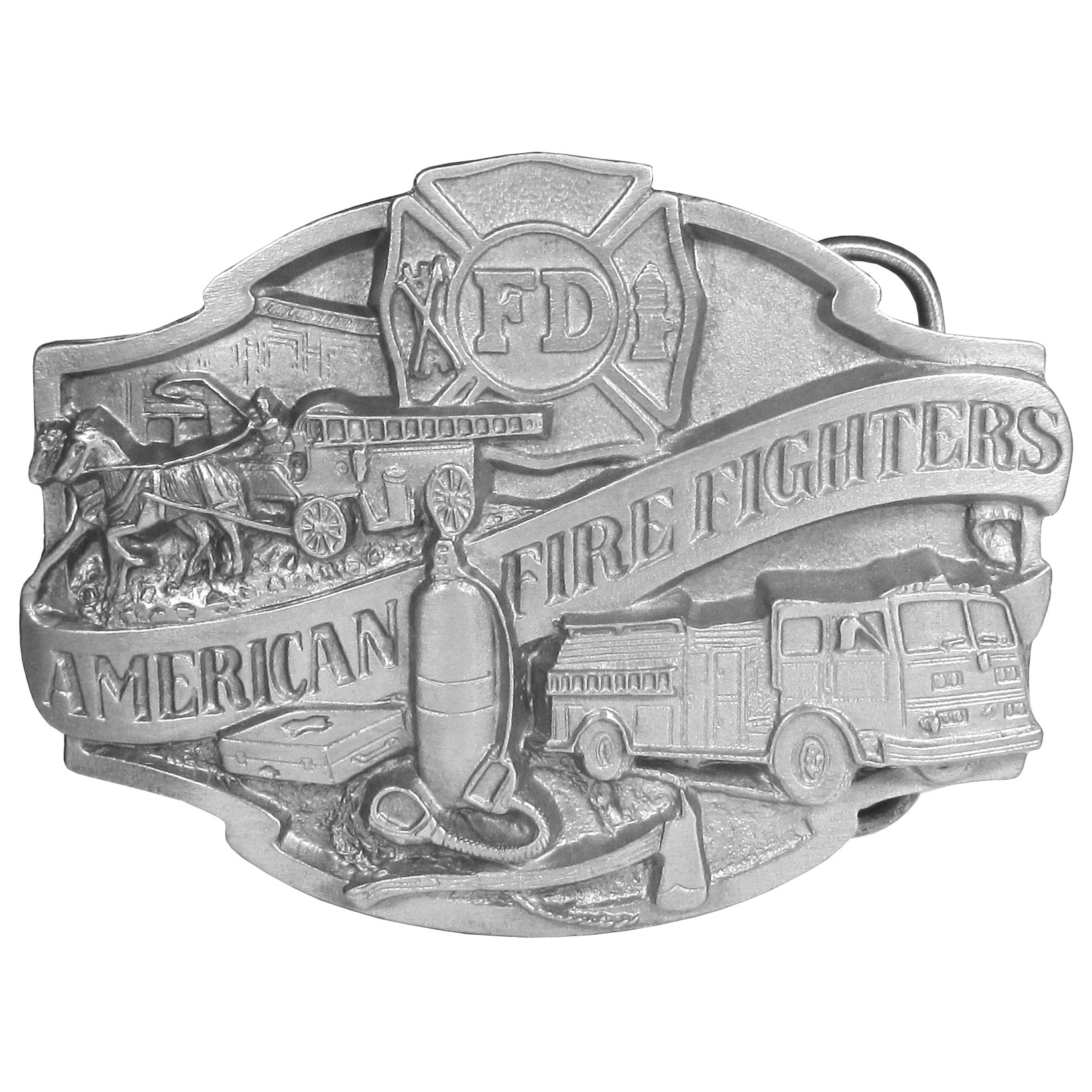"American Firefighter Antiqued Belt Buckle - This belt buckle is for the American Firefighter! There is an intricately carved fire truck with an oxygen tank, pickaxe, an old fashioned horse drawn fire truck and the Fire Department symbol. On the back are the words, ""American Fire Fighters... Ever Ready, Ever Willing"". This exquisitely carved buckle is made of a fully cast metal with a standard bale that fits up to 2"" belts."