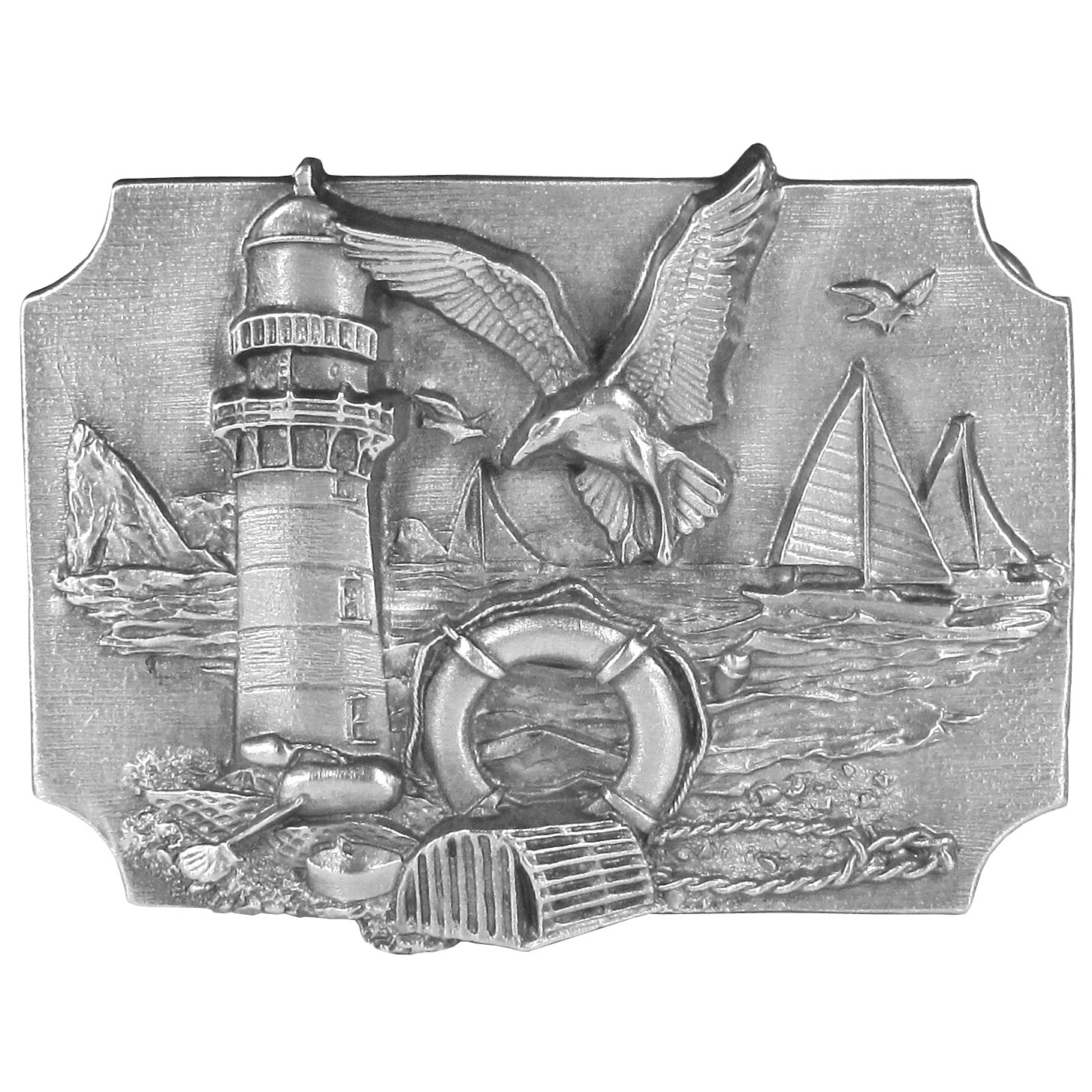 "Coastal Scene Antiqued Belt Buckle - ""This belt buckle featues an idyllic ocean scene with a seagull landing next to a lighthouse, a bouy, a lobster trap, a barbecue pit with a pan and spatula, seagulls flying through the sky and sailboats in the ocean. On the back are the words, """"A bad day of fishing is better than a good day working."""" This exquisitely carved buckle is made of fully cast metal with a standard bale that fits up to 2"""" belts. Siskiyou's unique buckle designs often become collectors items and are unequaled with the best craftsmanship."""