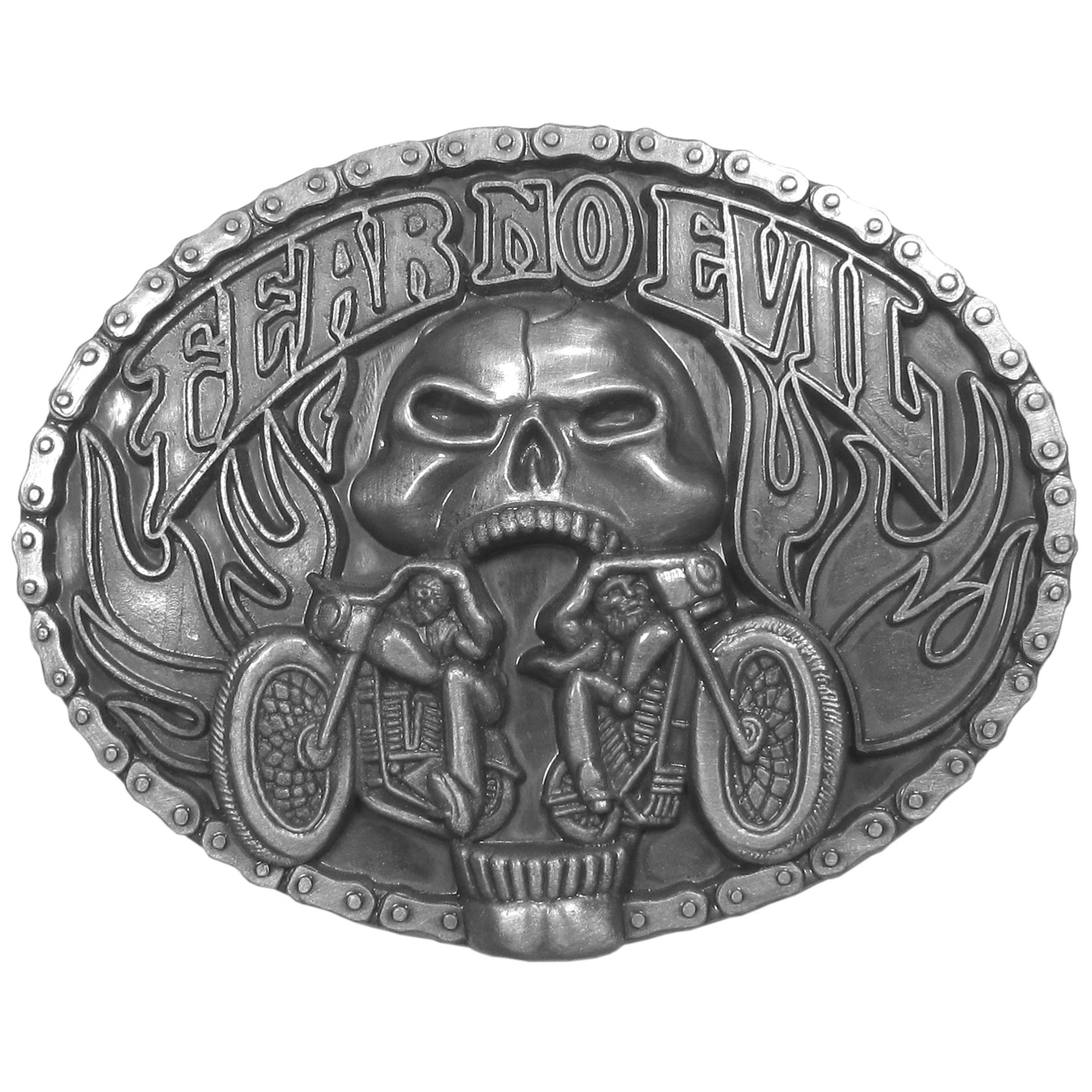 "Fear No Evil Antiqued Belt Buckle - ""Fear No Evil"" belt buckle features two motorcycles coming out of a skull surrounded by flames. This exquistely carved buckle is made of fully cast metal with a standard bale that fits up to 2"""" belts."""