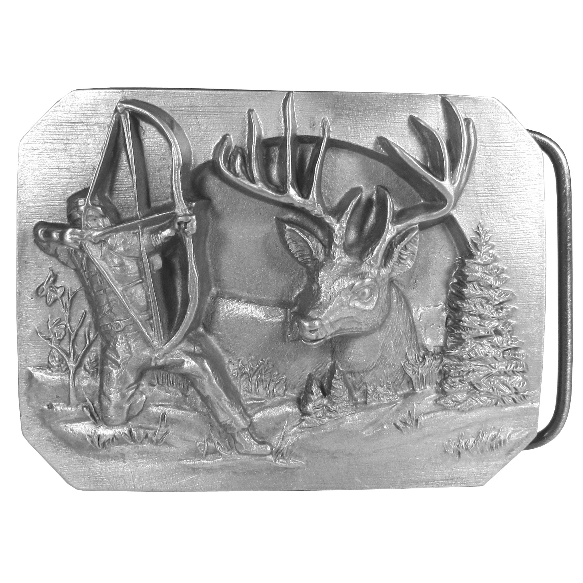 "Bowhunter Antiqued Belt Buckle - ""This belt buckle celebrates the bowhunter!  There is a man with a bow and arrow, an antlered buck, as well as trees and grass and a sun in the background.  On the back are the words, """"Bowhunters Reward.  A bowhunter is a breed like no other.  He patiently waits, stalks, passes up less than perfect shots waiting for his quarry.  Then on that crisp, cool autumn morning he draws his bow and releases into the reward of a lifetime.""""  """