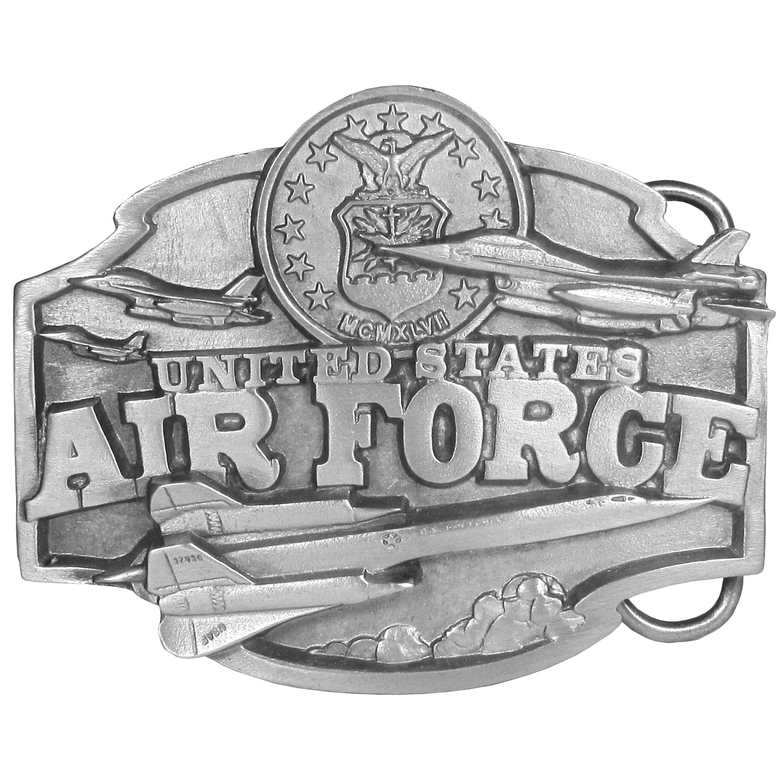 "Air Force Antiqued Belt Buckle - ""Our United States Air force belt buckle features """"United States Air Force"""" in bold surrounded by planes and the U.S. Air force symbol. On the back are the words """"In 1926 Congress created the Army Air Corps. Nineteen years later, in 1947, the United States Air Force was established as a separate military branch. Today the U.S. Air Force is second to none."""""""