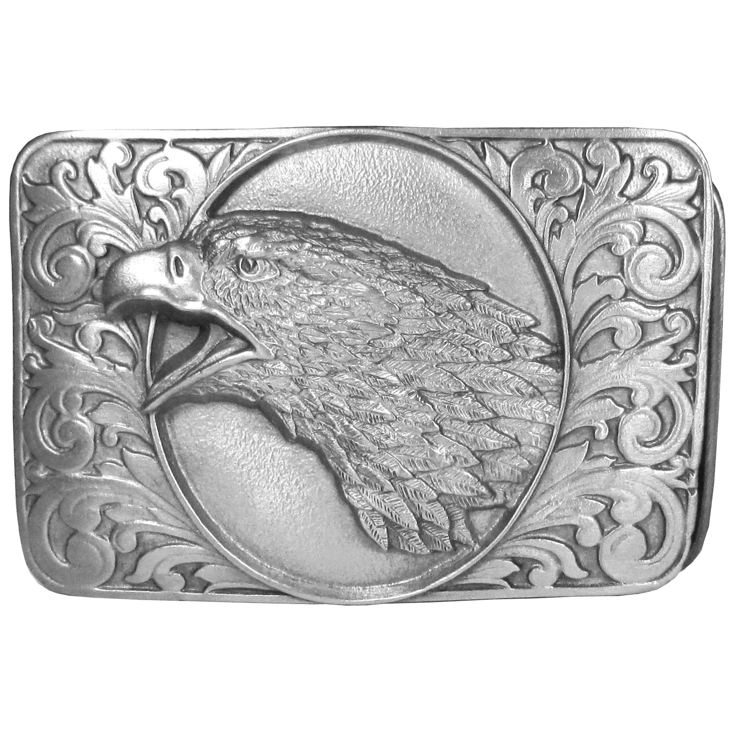 "Eagle on Western Scroll Antiqued Belt Buckle - ""This belt buckle features the head of an eagle with intricate design details surrounding it. This exquisitely carved buckle is made of fully cast metal with a standard bale that fits up to 2"""" belts."""