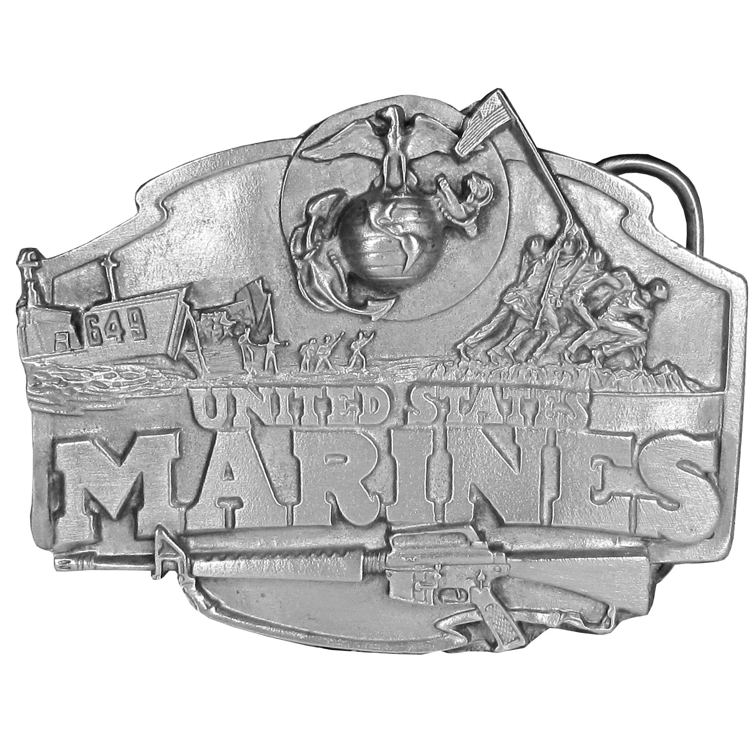 "Marines Antiqued Belt Buckle - Our United States Marines belt buckle features ""United States Marines"" boldy in the center. It is surrounded by a submarine, soldiers errecting a flag pole with an American Flag at the top and a rifle on the bottom as well as the Marine's symbol. On the back are the words, The Marines...The Few, the Proud, the Brave! This exquisitely carved buckle is made of fully cast metal with a standard bale that fits up to 2"" belts."