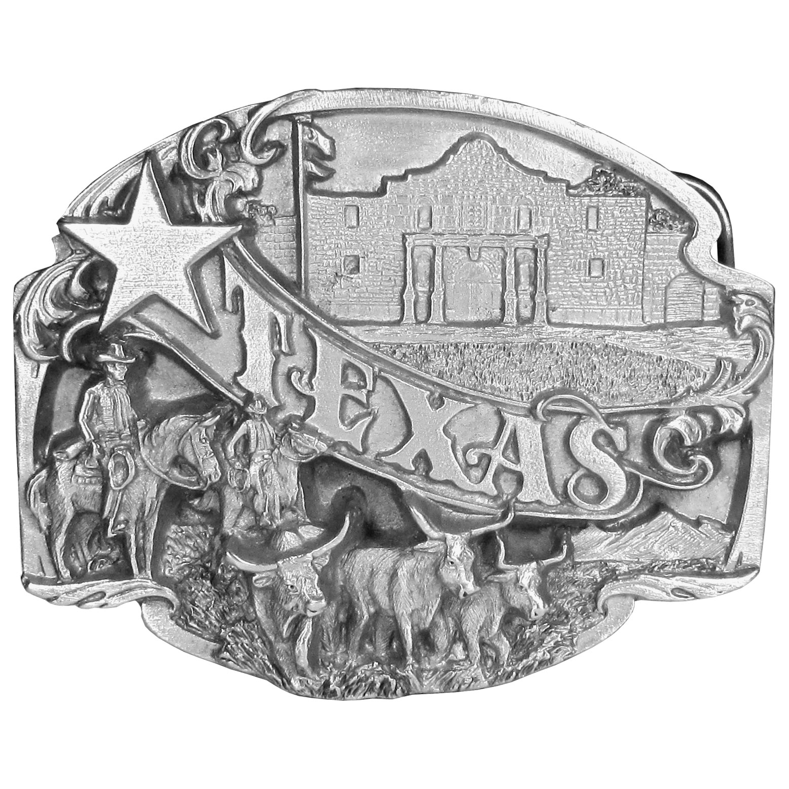 "Texas Antiqued Belt Buckle - ""Texas"" is bolding written in the center of this belt buckle with a star at the front. On the top is the Alamo from San Antonio and on the bottom are two cowboys on horses herding steer. On the back are the words, """"Texas, the Lone Star State, was admitted as a state on Dec. 29, 1845. The state bird is the Mockingbird; the state flower is the Bluebonnet; and the state tree is the Pecan. This exquisitely carved buckle is made of fully cast metal with a standard bale that fits up to 2"""" belts. Siskiyou's unique buckle designs often become collectors items and are unequaled with the best craftsmanship."""