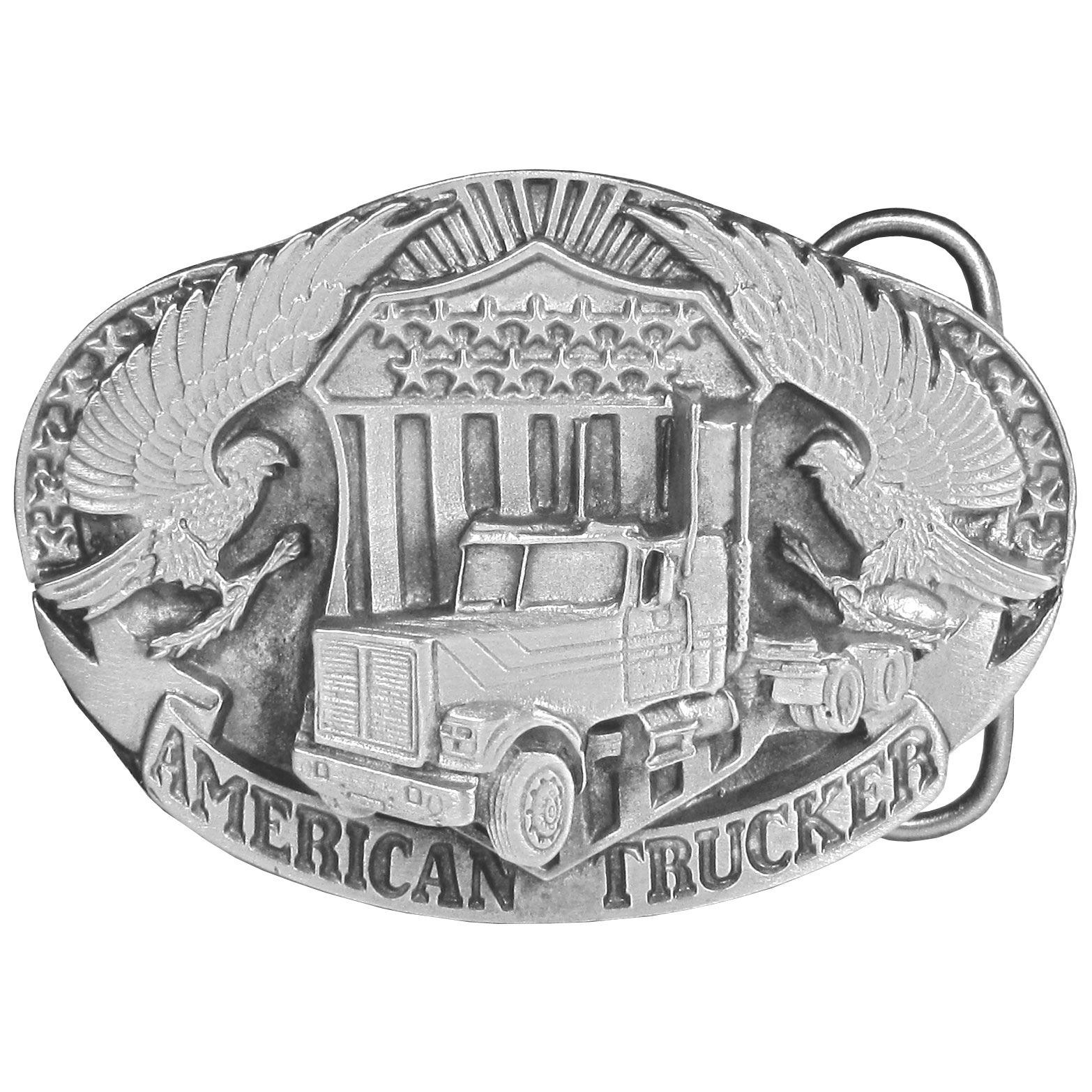 "American Trucker Antiqued Belt Buckle - This belt buckle celebrates the American Trucker! It features a semi truck with two eagles and an American badge with ""American Trucker"" written in bold. On the back are the words, The American Trucker… a 20th century cowboy. Keeping America moving! This exquisitely carved buckle is made of fully cast metal with a standard bale that fits up to 2"" belts."