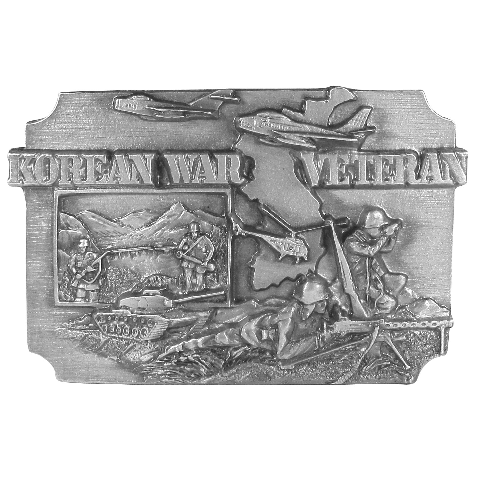 "Korean War Veteran Antiqued Belt Buckle - ""This belt buckle is for the Korean war veteran! The belt buckle features armed forces, planes, a helicopter, a tank and the outline of Korea, as well at the words """"Korean War Veteran"""". On the back are the words, """"The Korea War began June 25, 1950 and ended July 27, 1953."""" This exquisitely carved buckle is made of fully cast metal with a standard bale that fits up to 2"""" belts."""