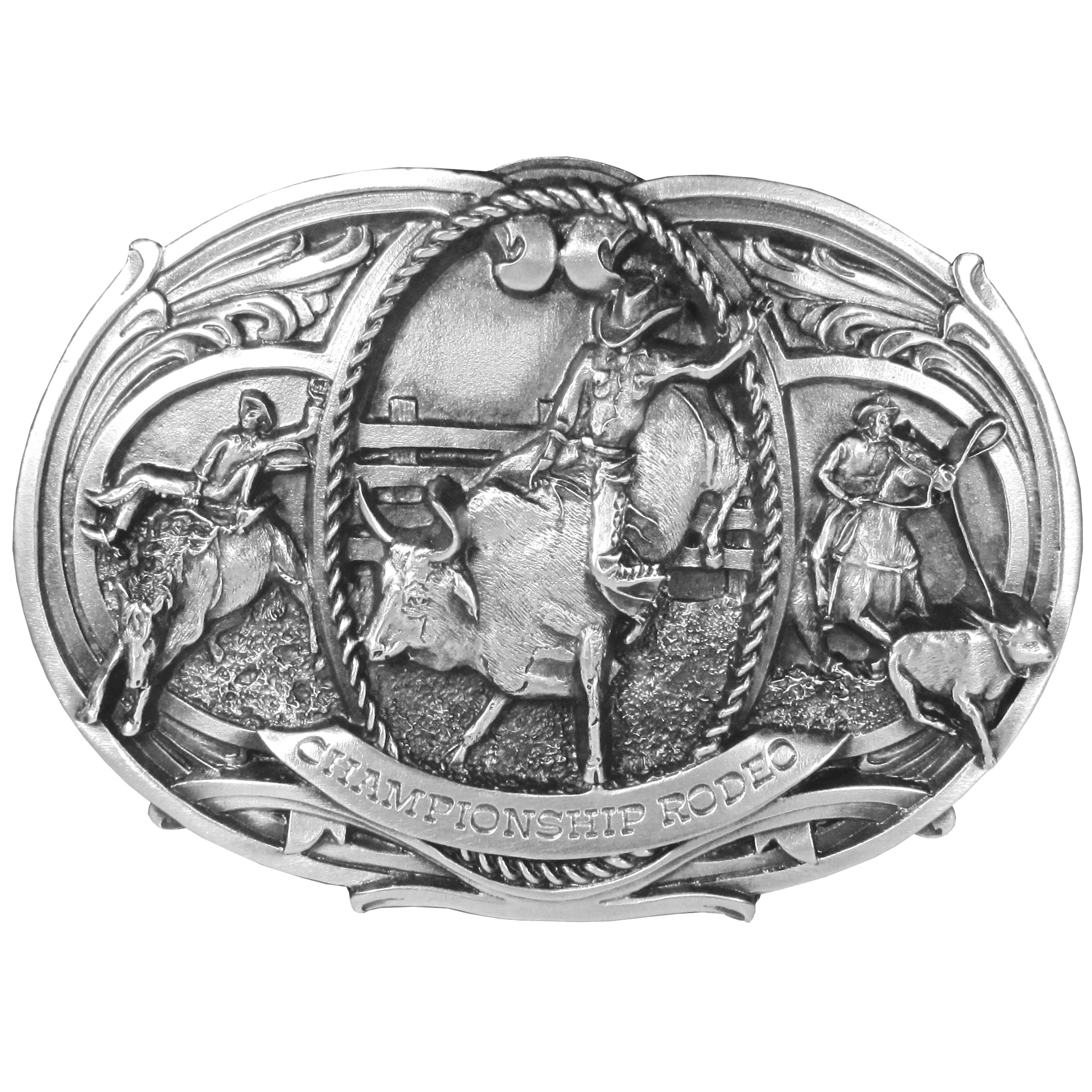 "Championship Rodeo Antiqued Belt Buckle - This large belt buckle celebrates Championship Rodeo with the words written on the bottom and a cowoby riding a bronco, Bull-riding and calf roping in an arena surrounded by design detail and rope. On the back are the words, Feats of skill and superb showmanship are watched with crowd roaring enthusiasm at rodeos across the country. Bronco riding is one of the most spectacular events, Spectators are also moved by all of the various shows of calf roping, bulldogging, and bull-riding and steer roping, along with other special events.  Buckle measures 5-1/4"" x 3-1/4""."