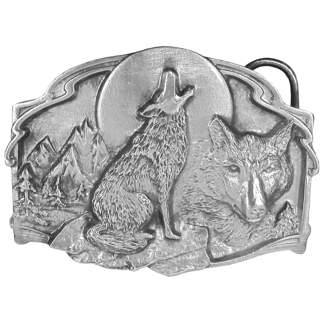 """Wolves Antiqued Belt Buckle - """"This buckle celebrates the wolf. There is a wolf howling at the moon as well as a wolf's head, mountains and trees. On the back are the words, """"""""The wolf is a large member of the dog family. An adult male may weight as much as 100 pounds and stand nearly three feet at the shoulders."""""""" This exquisitely carved buckle is made of fully cast metal with a standard bale that fits up to 2"""""""" belts."""""""