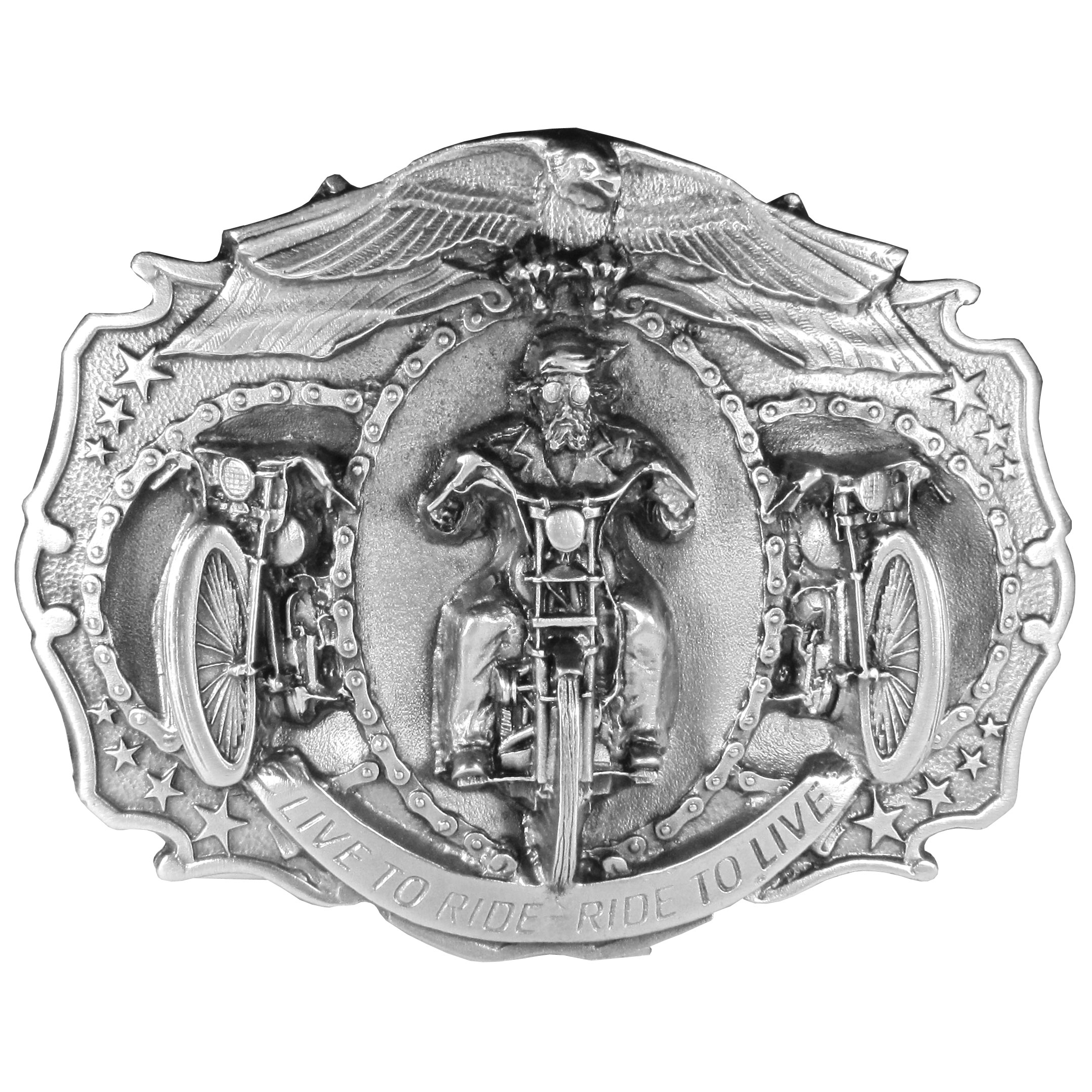 "Live to Ride Antiqued Belt Buckle - ""This large belt buckle features a man on a motorcycle with """"Live to Ride, Ride to Live"""" below.  There is also an eagle perched on top of a motorcycle chain, stars and two motorcycles on the side.  On the back are the words, """"Jammin' in the wind on a long straight stretch; kickin' it in the ass comin out of a tight curve; or maybe just a slow cruise on a balmy night...it's just a feeling you can only get on two wheels and there's nothin' else like it in the world.""""  Buckle measures 5-1/4"""" x 4""""."""