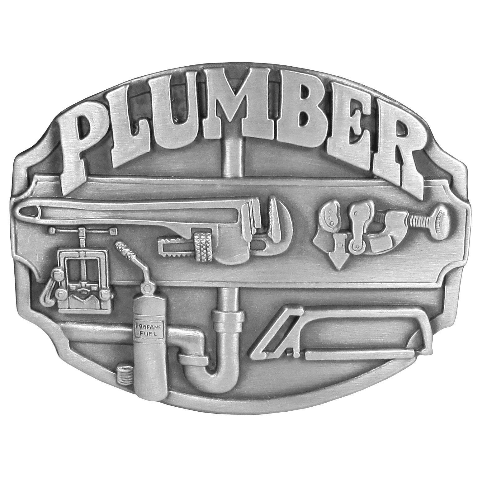 "Plumbers Antiqued Belt Buckle - This belt buckle celebrates the plumber! ""Plumber"" is written in bold across the top with tools of the trade below, including pipe, a pipe wrench,saw, pipe cutter and propane fuel. This exquisitely carved buckle is made of fully cast metal with a standard bale that fits up to 2"" belts."