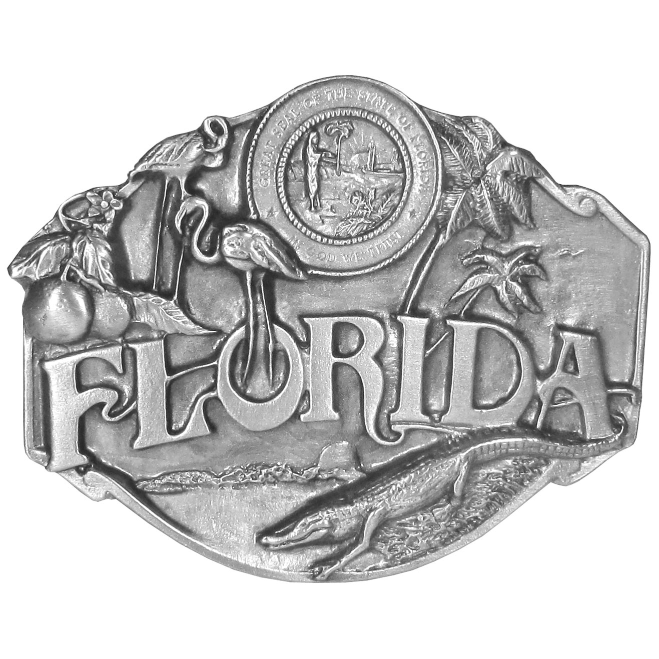 Florida Antiqued Belt Buckle - Finely sculpted and intricately designed belt buckle. Our unique designs often become collector's items.