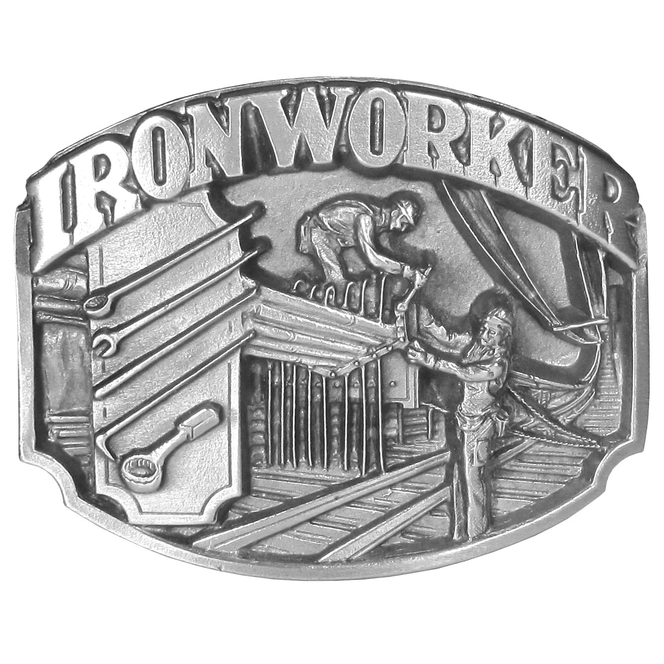 Iron Worker Antiqued Belt Buckle - This belt buckle celebrates the Ironworker!  On the front are two ironworkers working diligently on a project with tools of the trade surrounding them. On the back are the words, Ironworkers built much of what we all depend upon.  Ironworkers must be able to read blueprints, and must have knowledge of mathematics, and the science of metals.