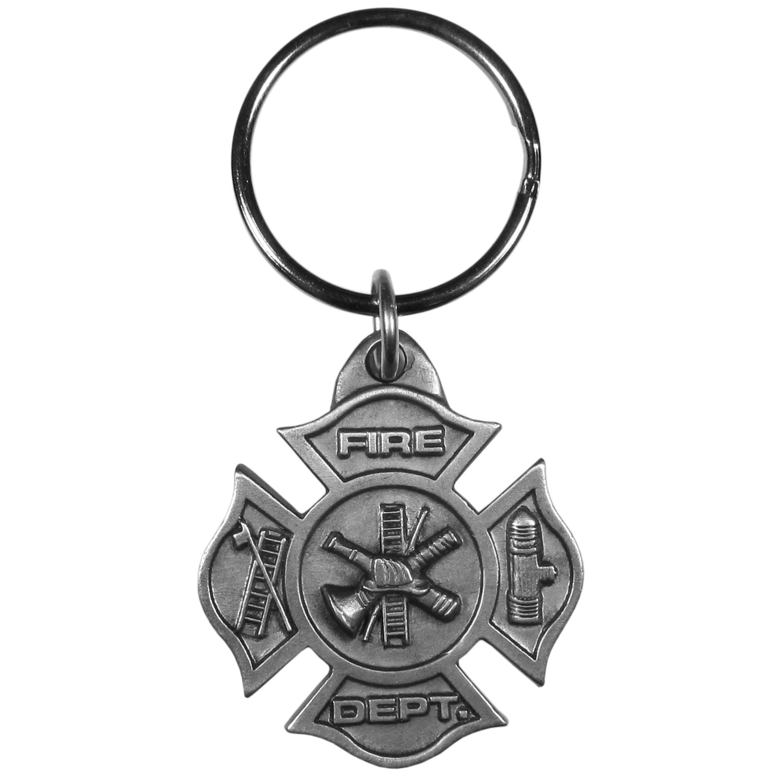 Maltese Cross Firefighter Antiqued Key Chain - This key chain celebrates the proud firefighter traditions with intricately carved details showing off the tools of the trade on the traditional maltese cross. Since these key rings are fully metal they stand up the rigorous day to day use and will keep looking great for years to come. The original designs are a great way to express your personal style while keeping your house and auto keys organized.