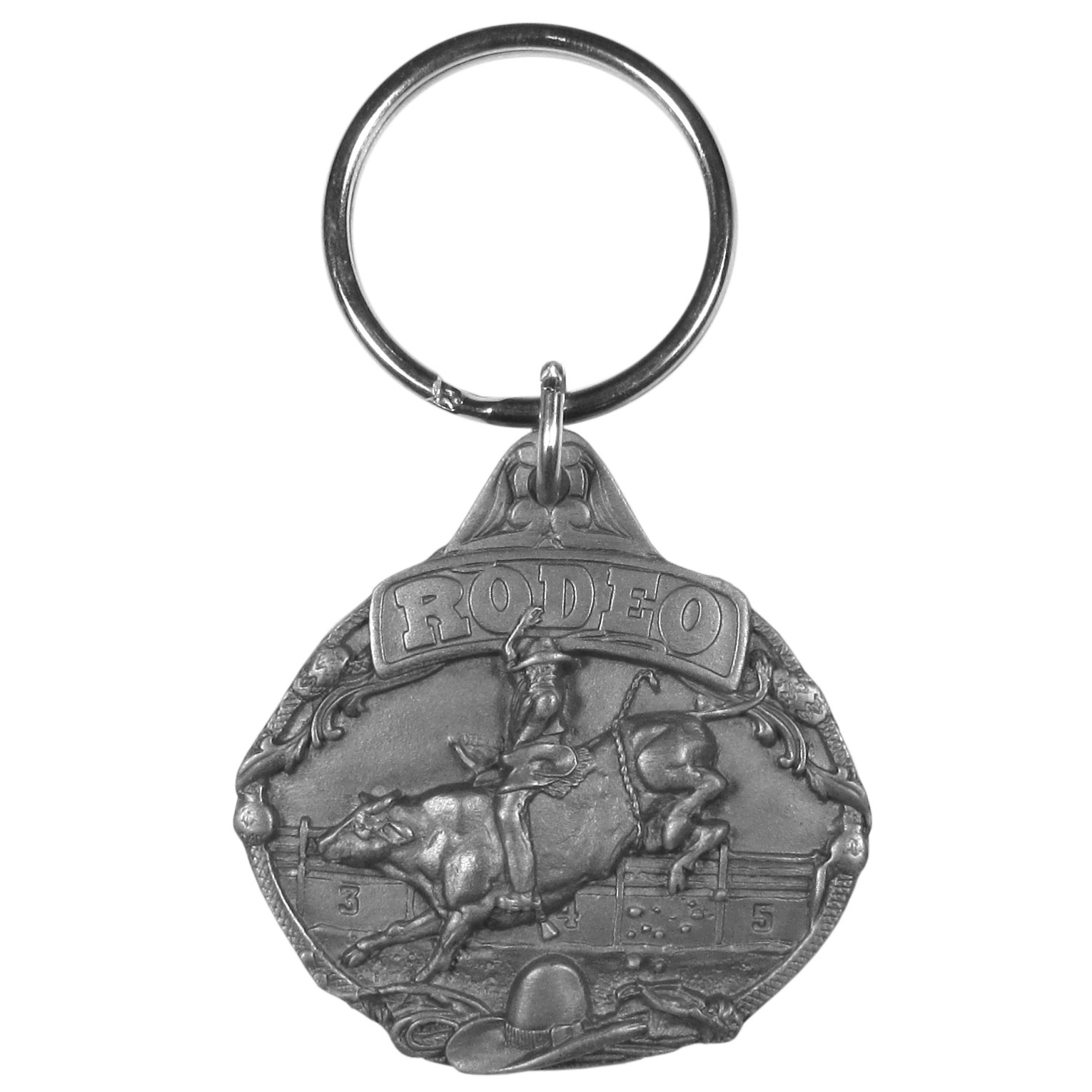 "Rodeo Bull Riding Antiqued Key Chain - Rodeo key chain has a cowboy riding a bull in the center of a rodeo arena. There is a cowboy hat and a rope in the foreground and the word ""Rodeo"" in bold at the top. On the back are the words Rodeo is a series of western events taking great skill and courage. Rodeo is very exciting and as a sport is second to none. Key chain is 1-3/4"" x 1-1/2""."