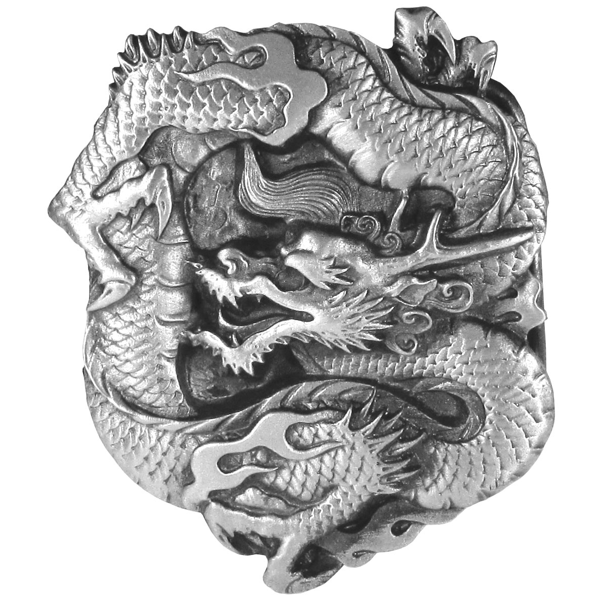 "Dragon Antiqued Belt Buckle - Dragon belt buckle featues a dragon curled up with his mouth open. This exquisitely carved buckle is made of fully cast metal with a standard bale that fits up to 2"" belts. Siskiyou's unique buckle designs often become collectors items and are unequaled with the best craftsmanship."