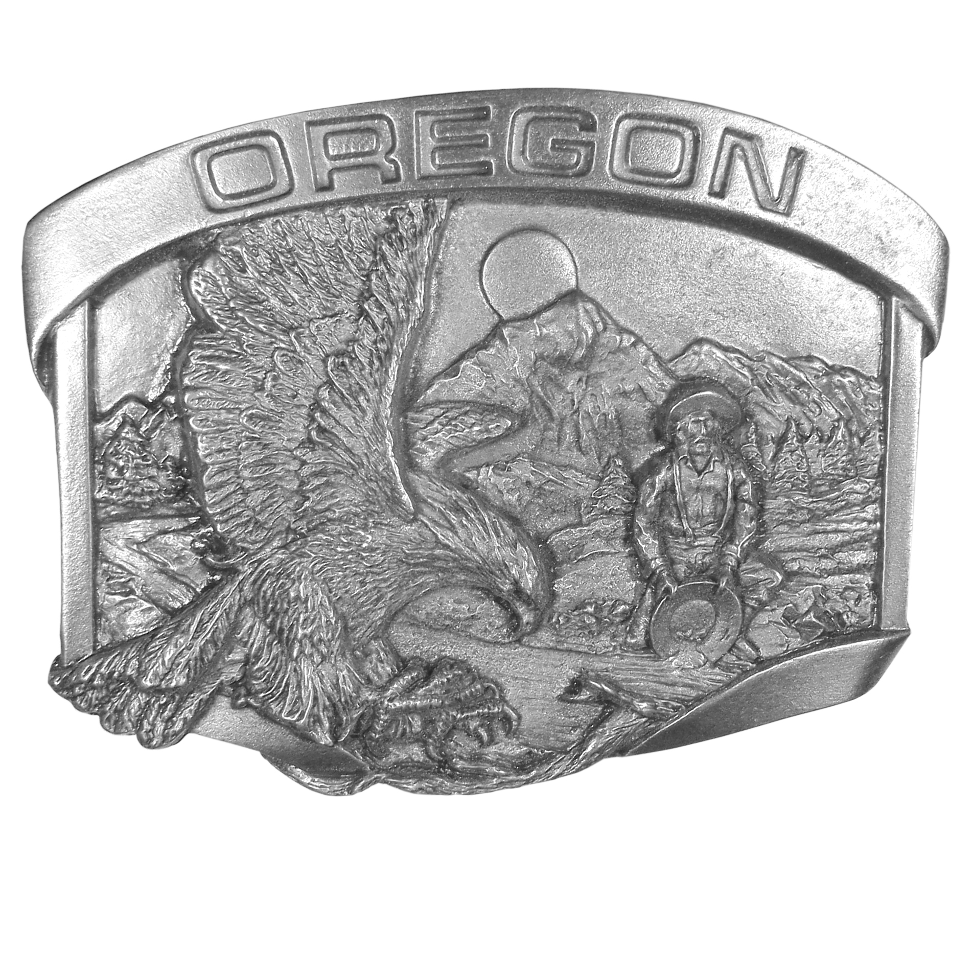 """Oregon Miner Antiqued Belt Buckle - An exquisitely designed image to celebrate the state of Oregon. Antiqued buckle has a banner with """"Oregon"""" across the top. Images include an eagle with it's claws out to capture prey, a gold miner panning for gold, mountains, trees, the moon and a river. This exquisite buckle is made of fully cast metal with a standard bale that fits up to 2"""" belts."""