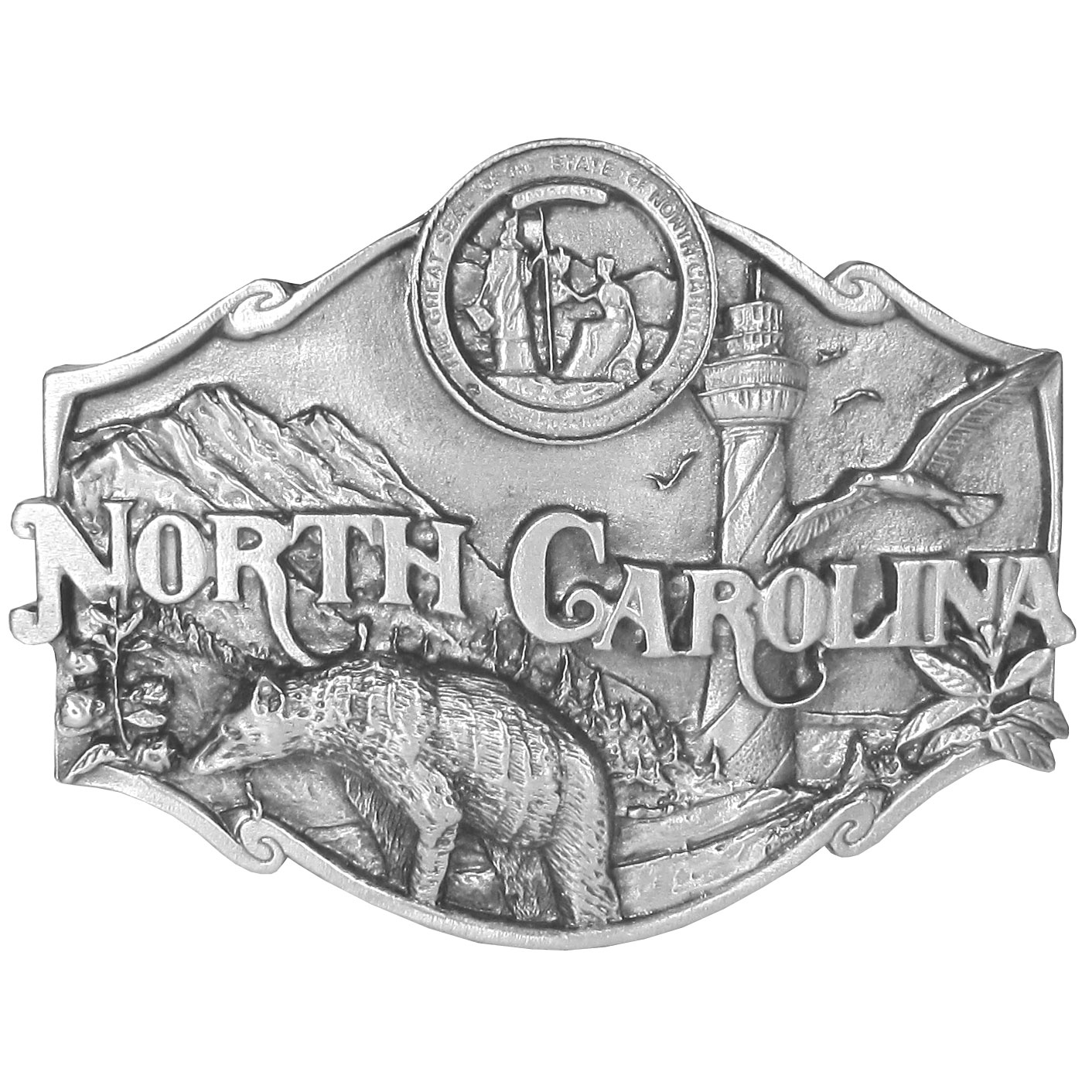 "N. Carolina Antiqued Belt Buckle - ""This belt buckle celebrates North Carolina with a bear, lighthouse, bird, plants, mountains and the state seal.  This exquisitely carved buckle is made of fully cast metal with a standard bale that fits up to 2"" belts."""