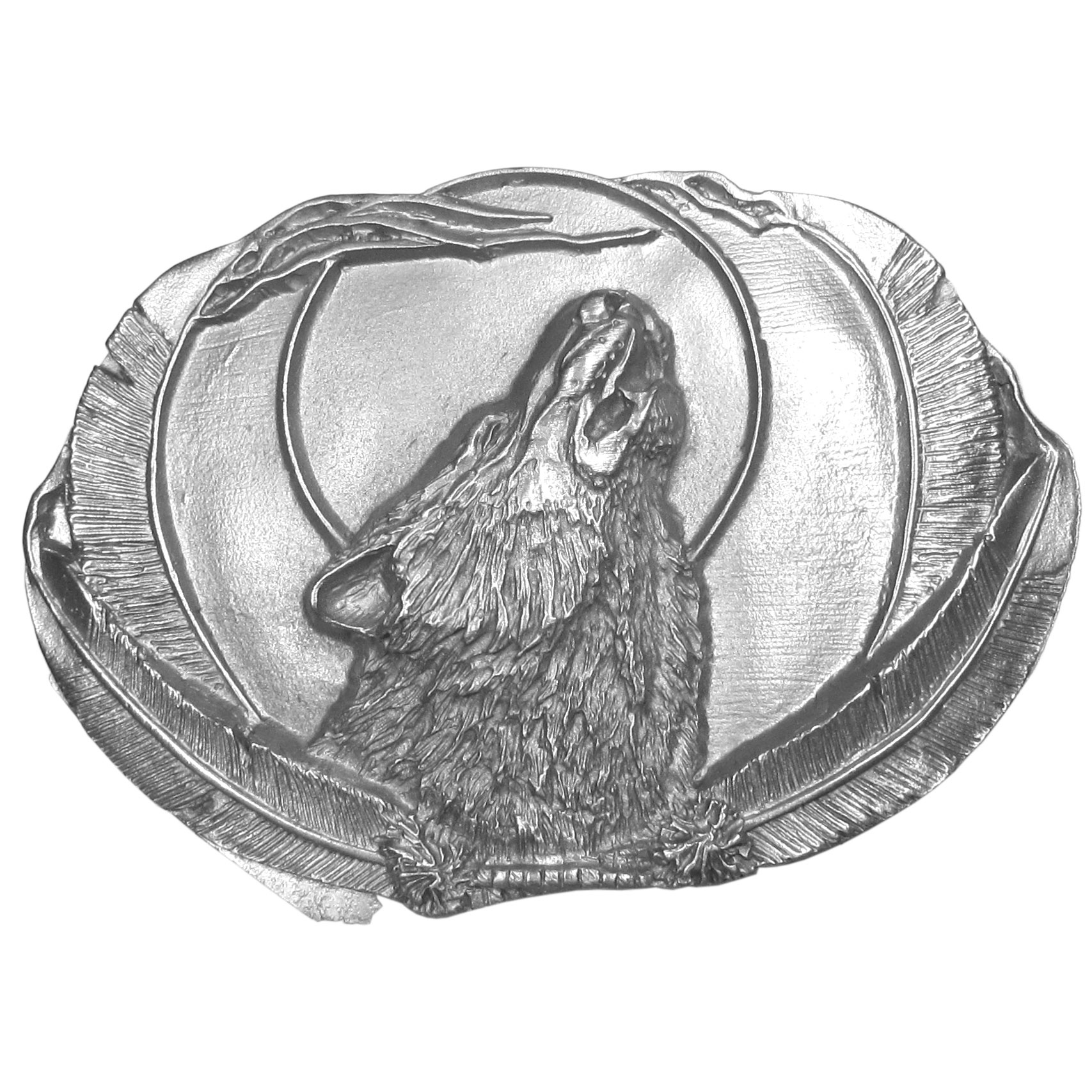 "Wolf Antiqued Belt Buckle - ""This exquistely carved buckle features a wolf howling at the moon surrounded by feathers. Siskiyou's unique buckle designs aften become collectors items and are unequaled with the best craftsmanship. This buckle is made of fully cast metal with a standard bale that fits up to 2"""" belts."""