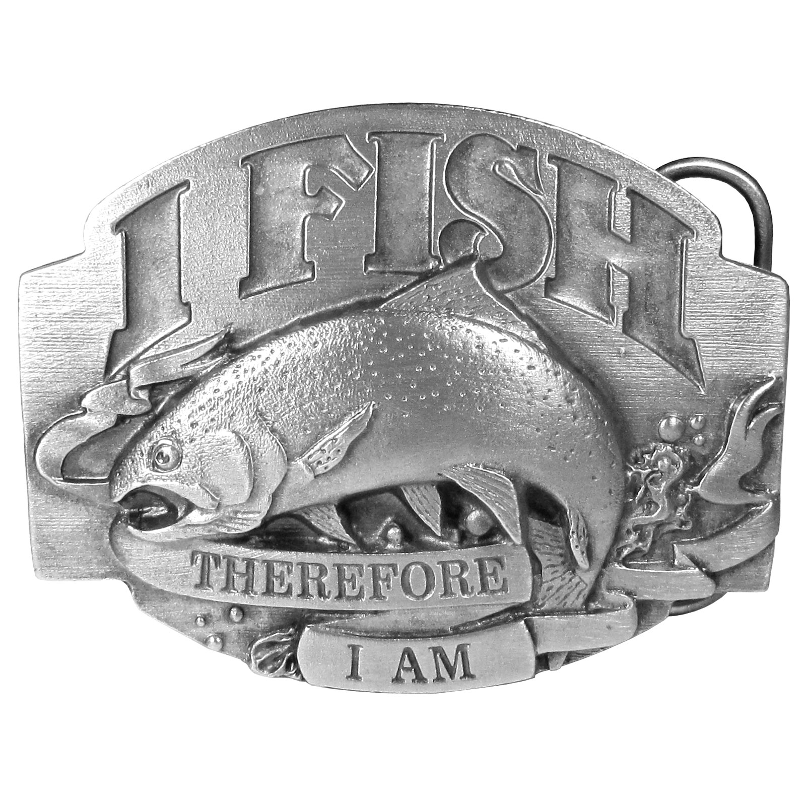 "I Fish Therefore I Am Antiqued Belt Buckle - ""This buckle is for the fisherman and proudly states, """"I fish, therefore I am"""".  In the center is a huge fish with a river in the background.  On the back are the words, """"I'd rather be fishing"""".  This exquisitely carved buckle is made of fully cast metal with a standard bale that fits up to 2"""" belts."""