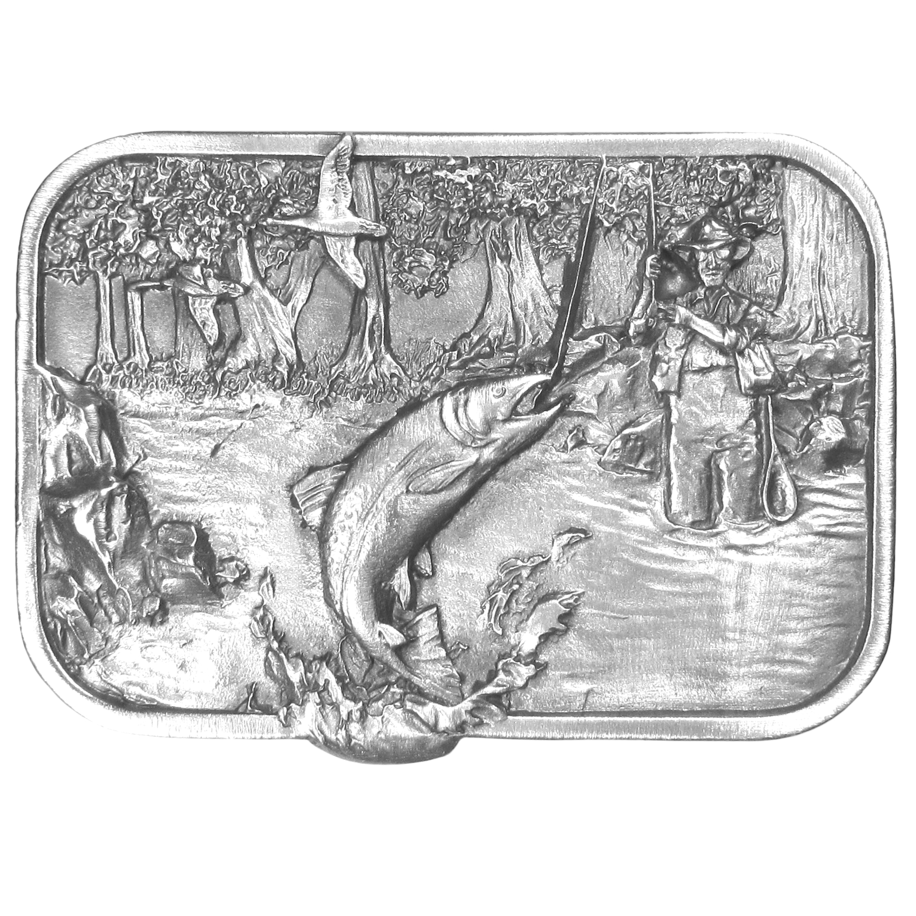 "Fisherman Antiqued Belt Buckle - ""This beautiful buckle is designed for the fisherman.  This stunning buckle has an image of a fisherman standing in a river in his waders, with a fishing pole hooking a fish, he also has a net, creel and fishermen's vest on.  There are trees and rocks and 2 geese flying in the sky.  On the back are the words, """"Fishing is one of the most popular forms of recreation.  It is a sport that people of all ages can enjoy.  The thrill, the challenge and the great outdoors make fishing among the best of all sporting activities.""""  This exquisitely carved buckle is made of fully cast metal with a standard bale that fits up to 2"""" belts."""